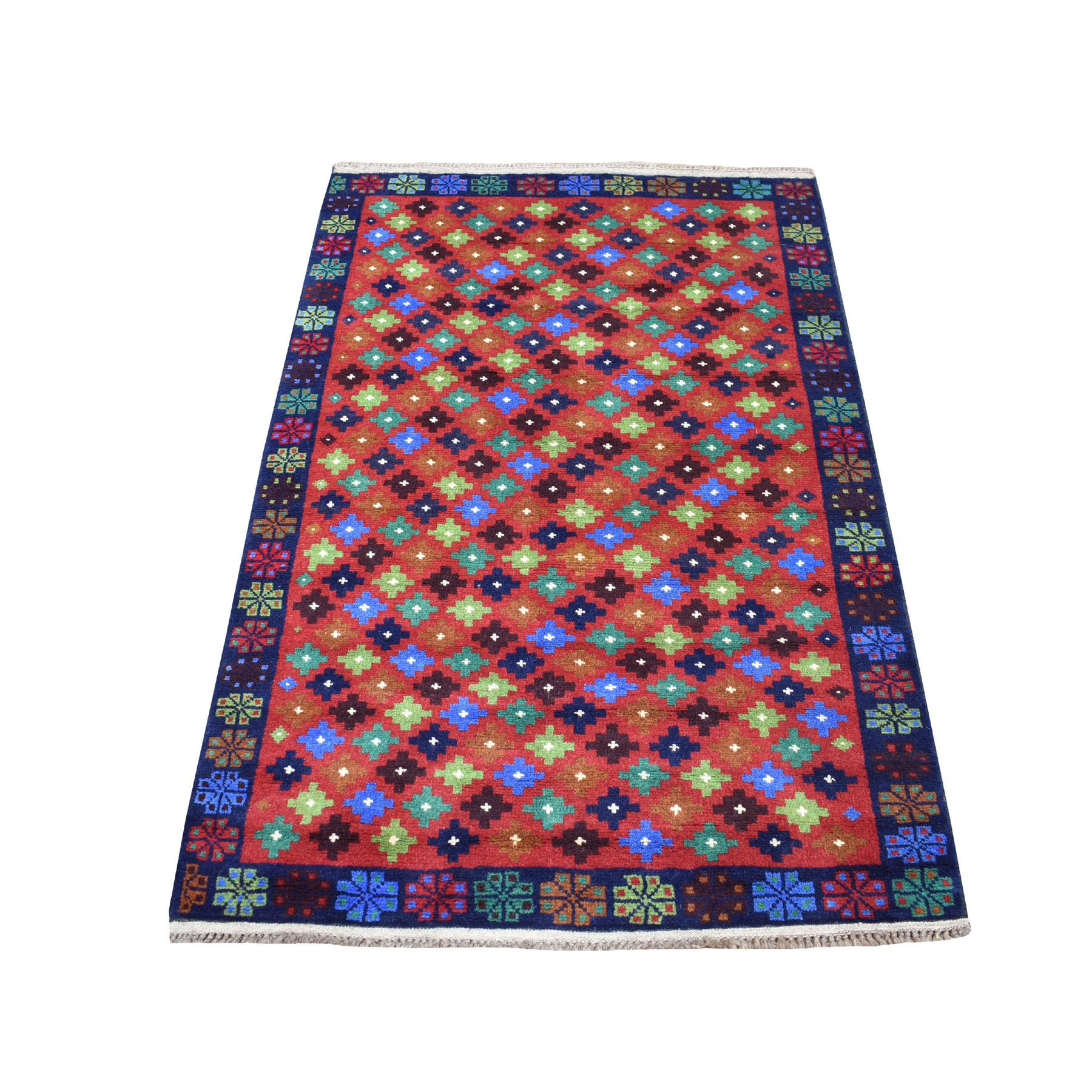 "3'3""X4'9"" Red All Over Design Colorful Afghan Baluch Hand Knotted Pure Wool Oriental Rug moaecb89"