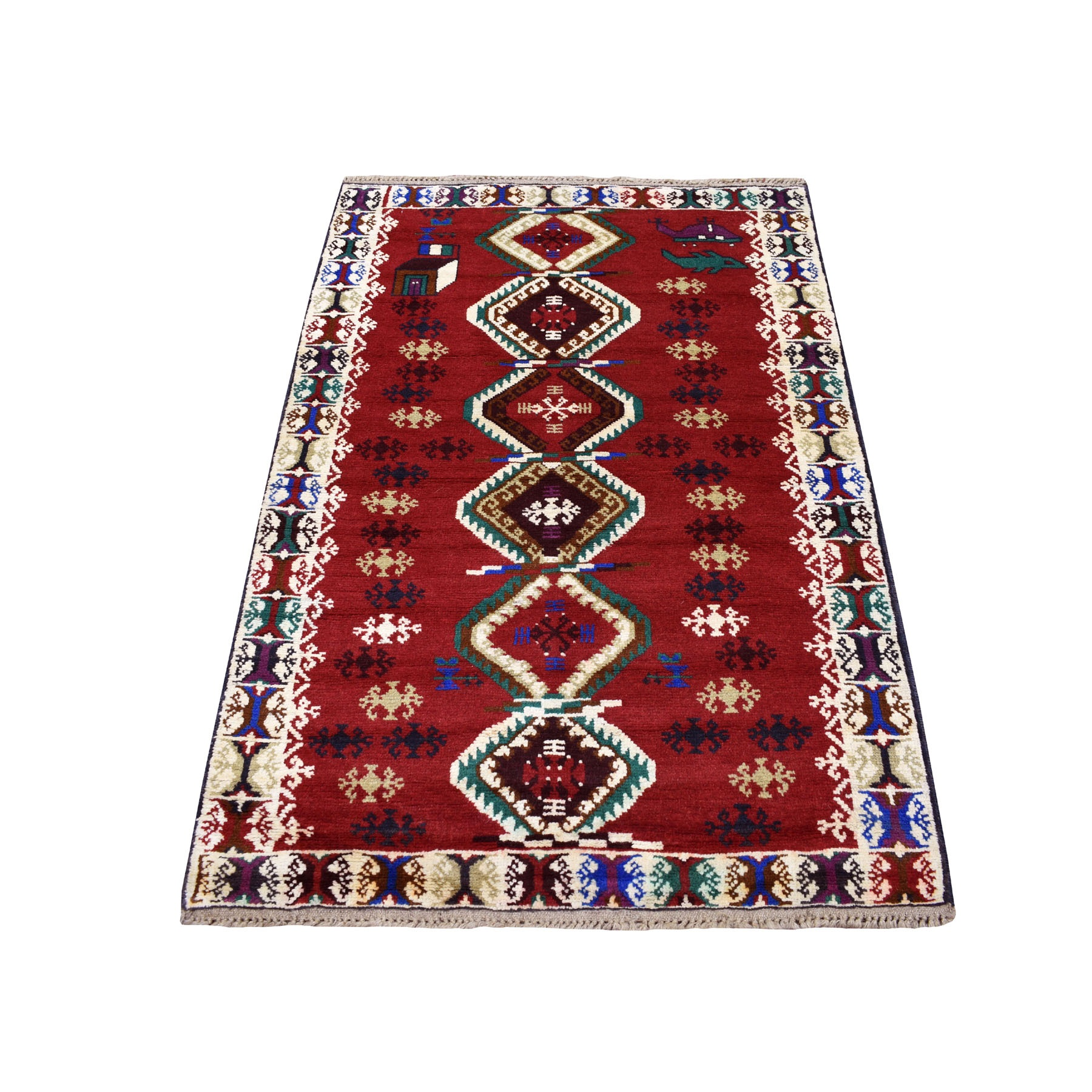 "3'3""X4'9"" Red Colorful Afghan Baluch Geometric Design Hand Knotted Pure Wool Oriental Rug moaecb90"