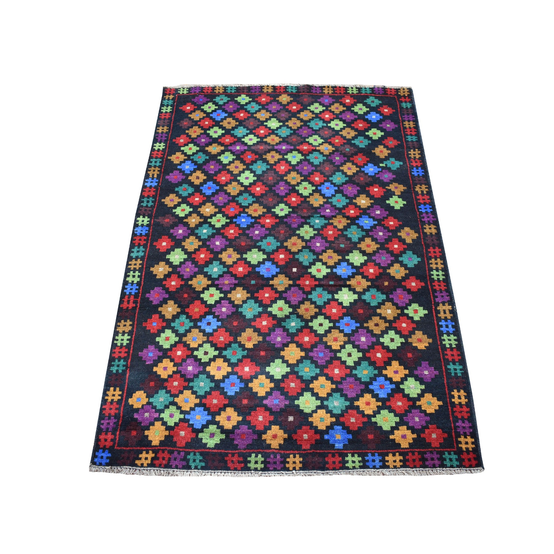"3'5""X5' Colorful Afghan Baluch All Over Design Hand Knotted Pure Wool Oriental Rug moaecb9a"