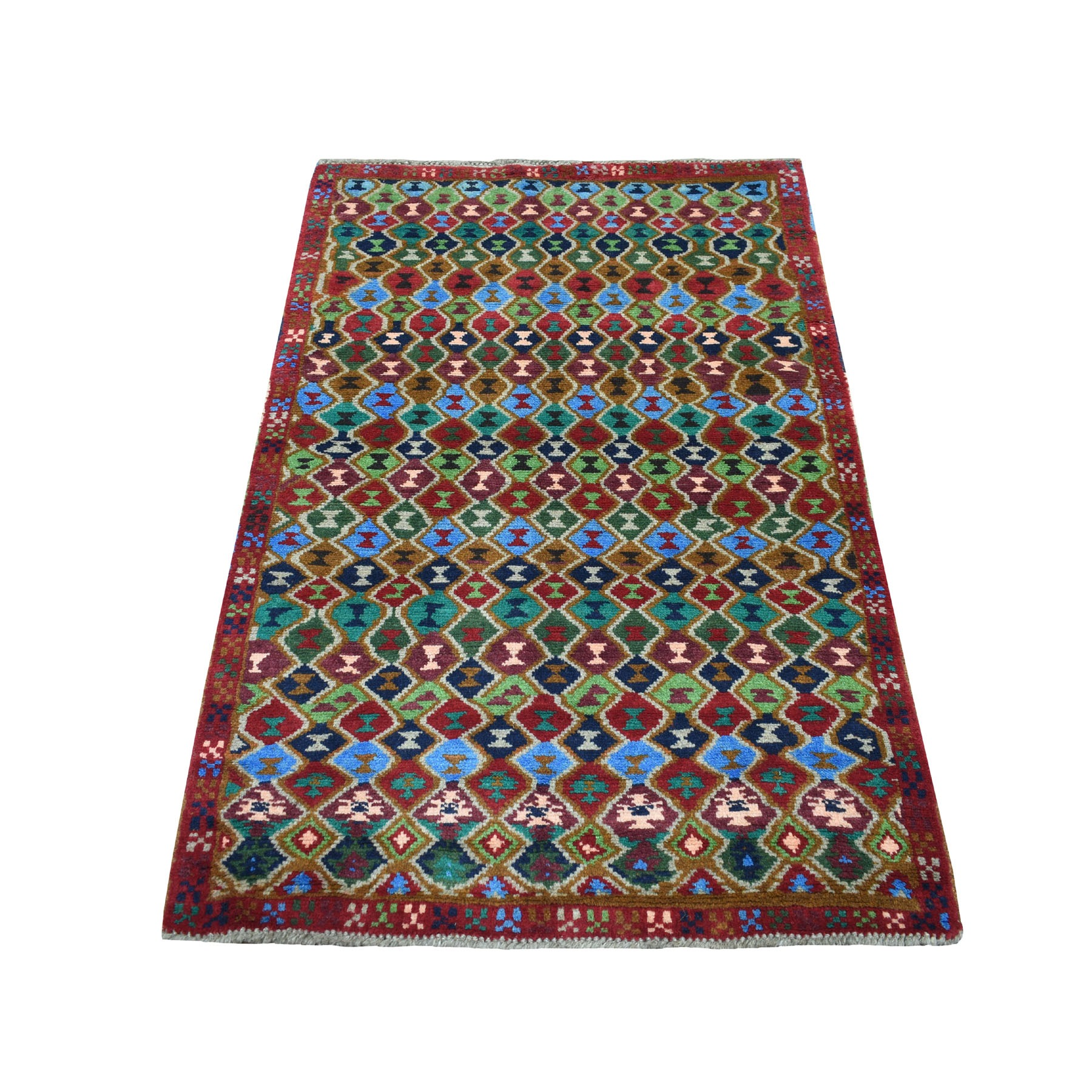 "3'3""X5' Red Colorful Afghan Baluch All Over Design Hand Knotted Pure Wool Oriental Rug moaecb9b"