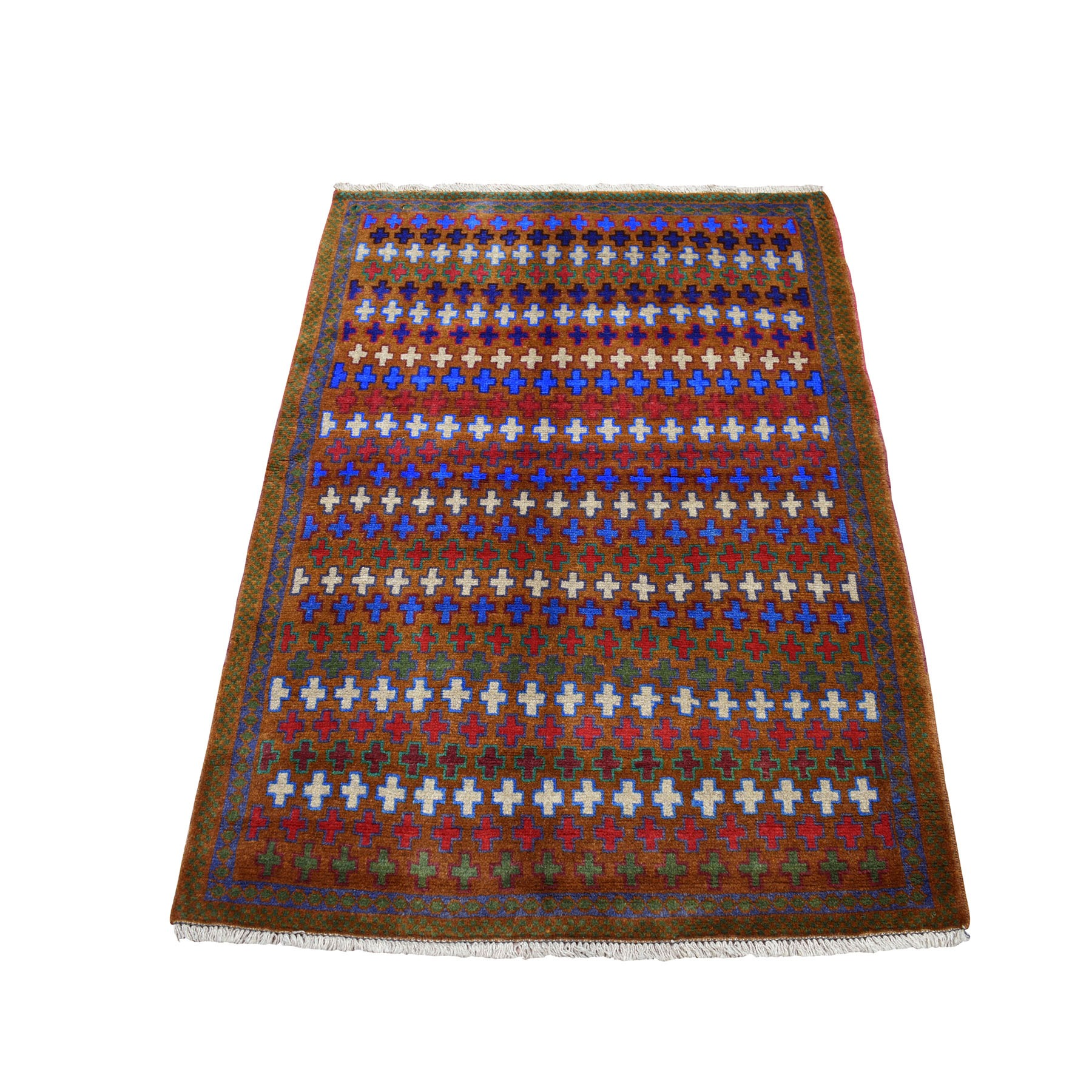 "3'3""X4'7"" Brown All Over Design Colorful Afghan Baluch Hand Knotted Pure Wool Oriental Rug moaecb9d"