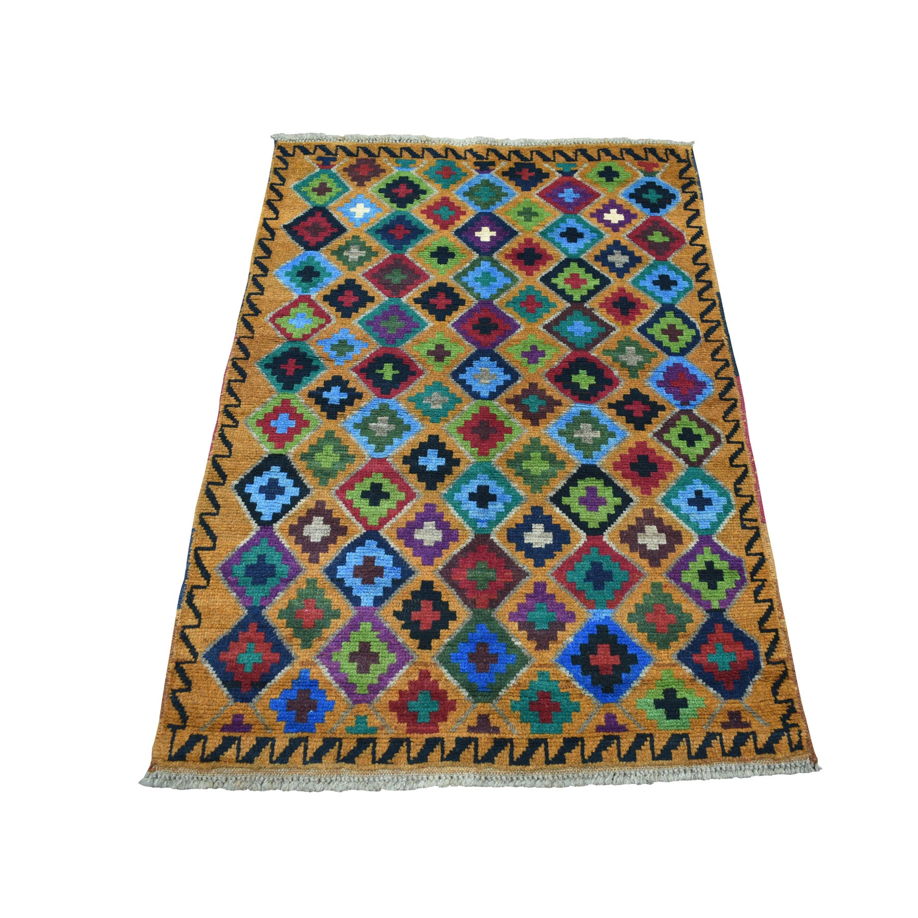 "3'4""X4'8"" Brown Tribal Design Colorful Afghan Baluch 100% Wool Hand Knotted Oriental Rug moaecb9e"