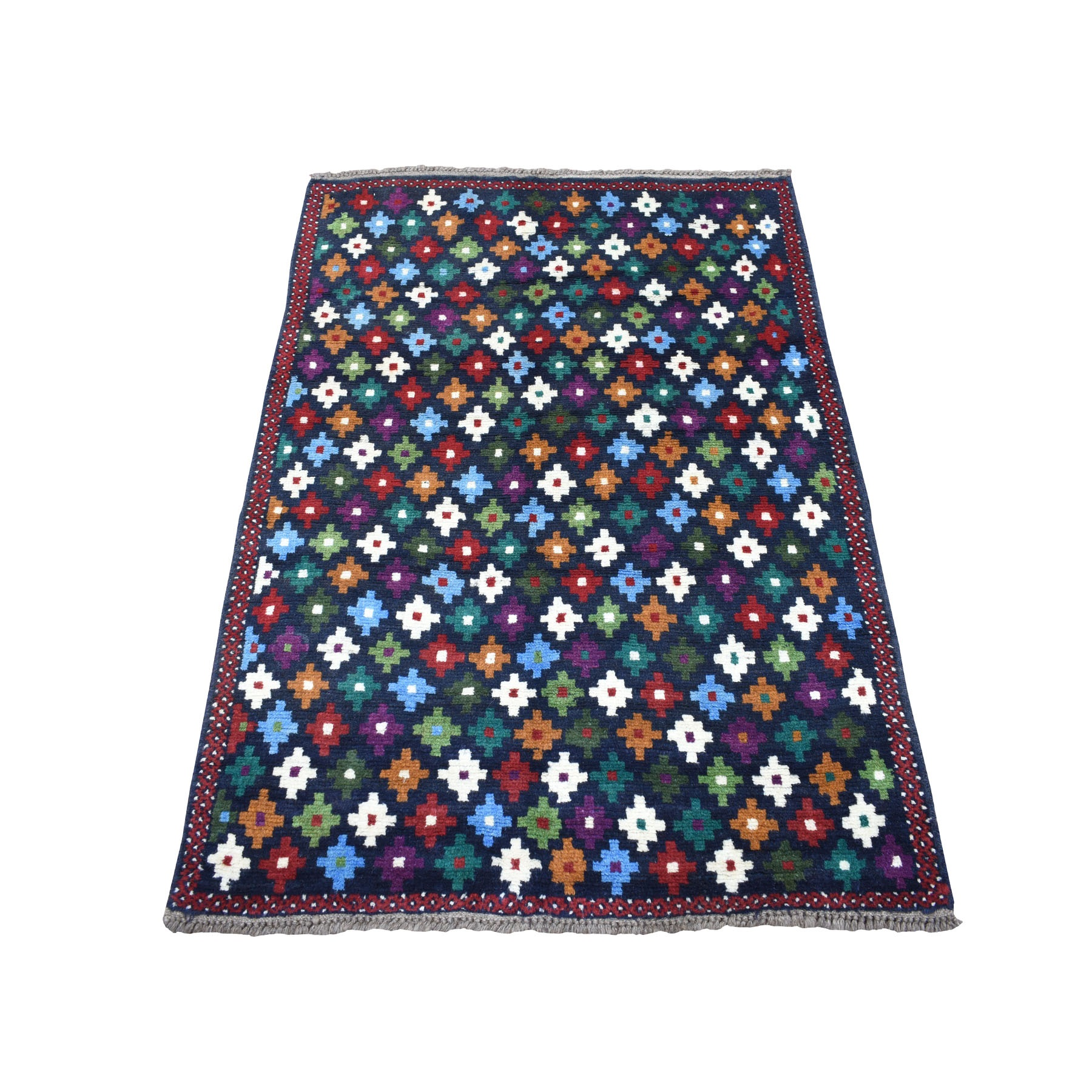 """3'4""""X4'8"""" Blue Colorful Afghan Baluch All Over Design Pure Wool Hand Knotted Oriental Rug moaecb96"""