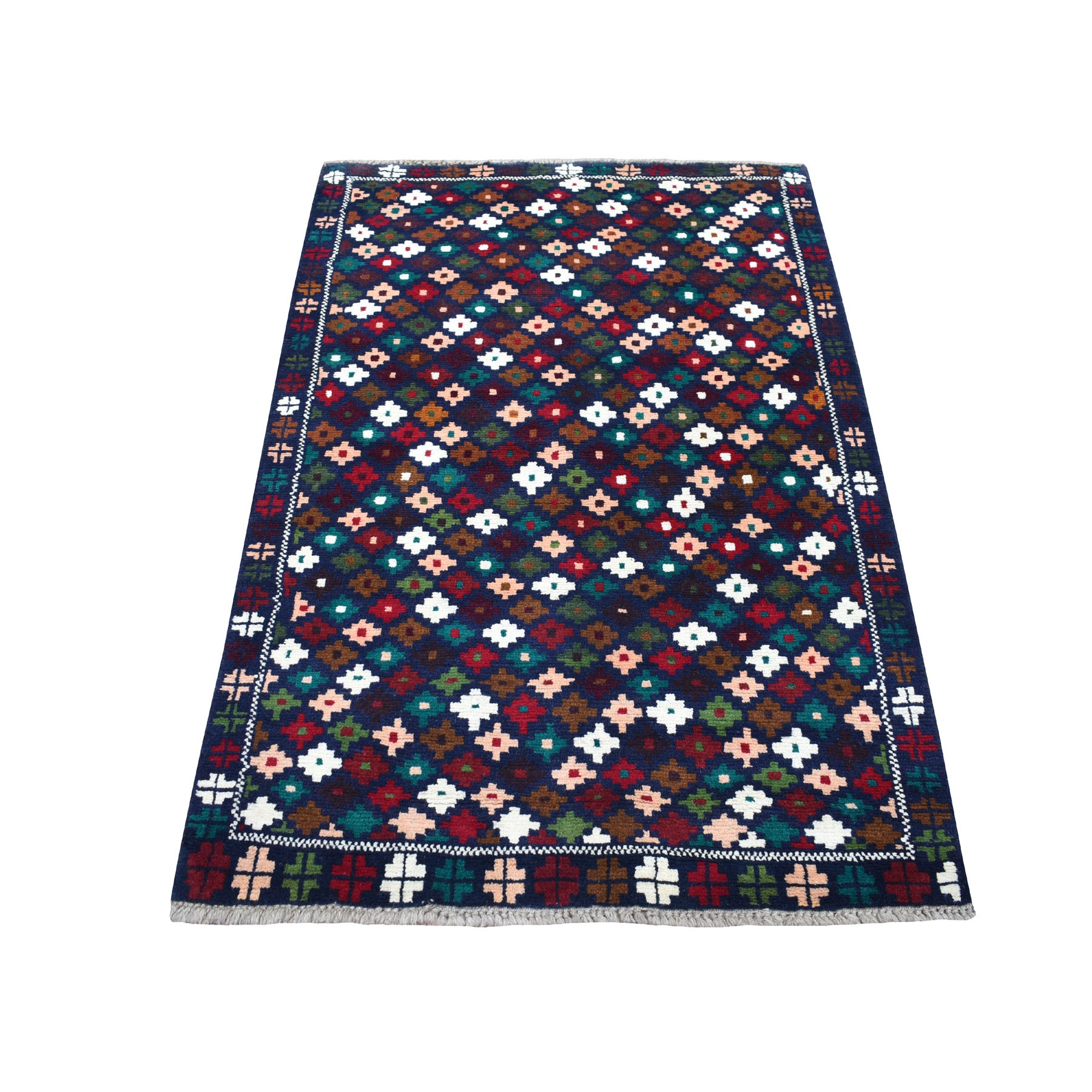 """3'2""""X4'9"""" Blue All Over Design Colorful Afghan Baluch Pure Wool Hand Knotted Oriental Rug moaecb98"""