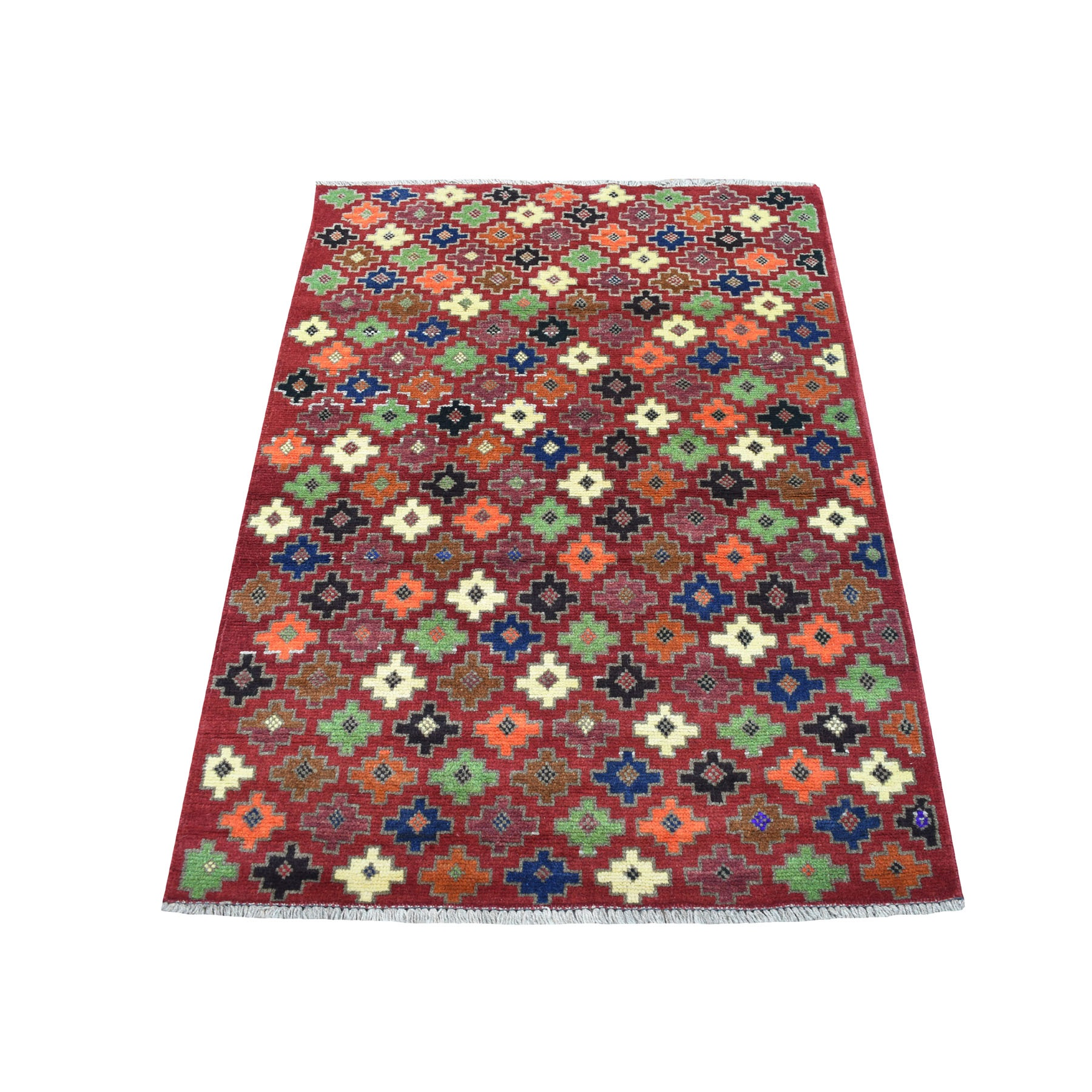 """3'1""""X4'10"""" Red All Over Design Colorful Afghan Baluch Hand Knotted Pure Wool Oriental Rug moaecb99"""