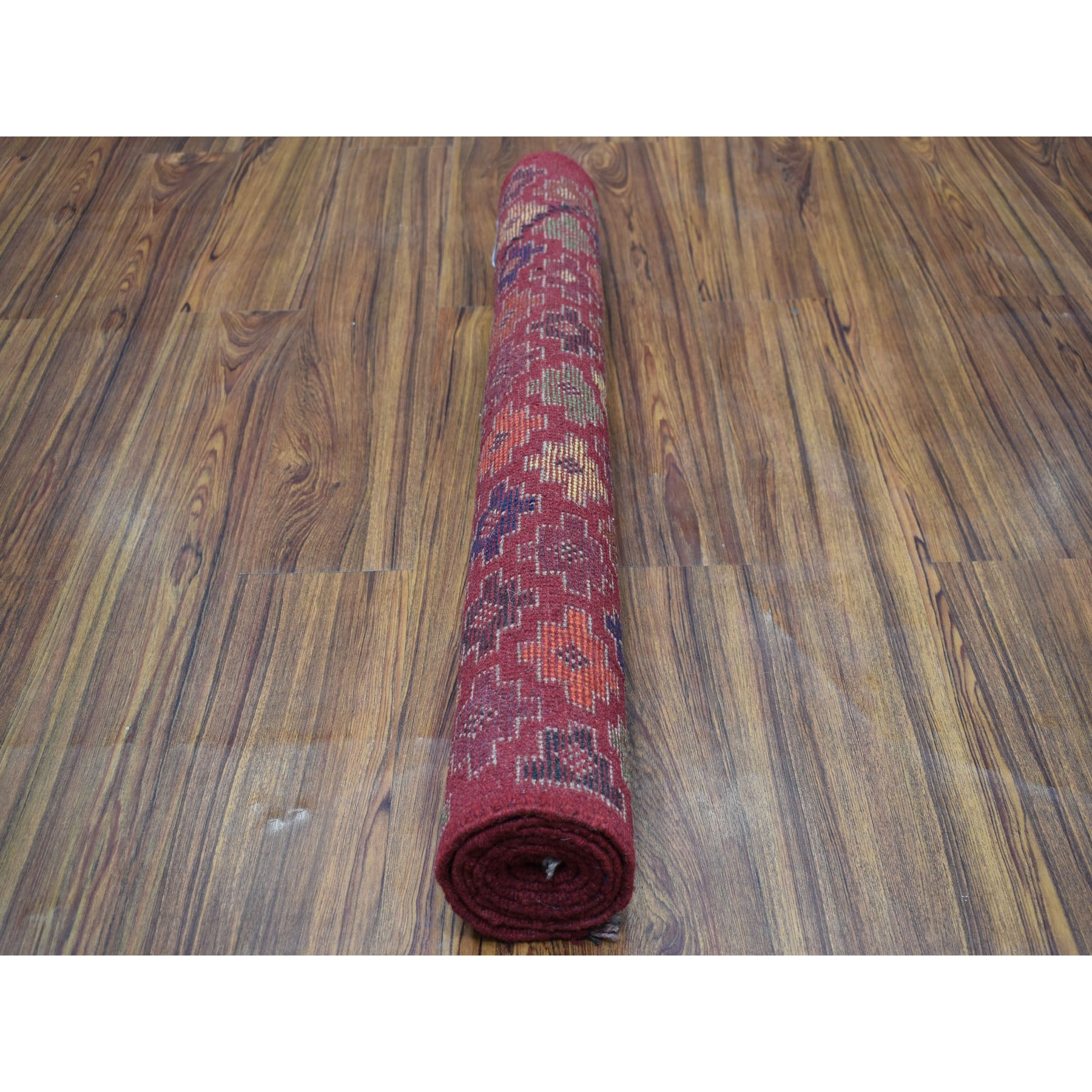 3-1 x4-10  Red All Over Design Colorful Afghan Baluch Hand Knotted Pure Wool Oriental Rug