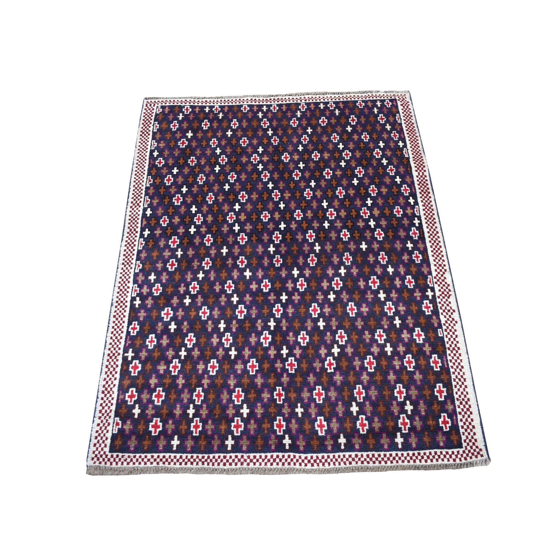 """3'4""""X4'6"""" Blue All Over Design Colorful Afghan Baluch Pure Wool Hand Knotted Rug moaecc00"""