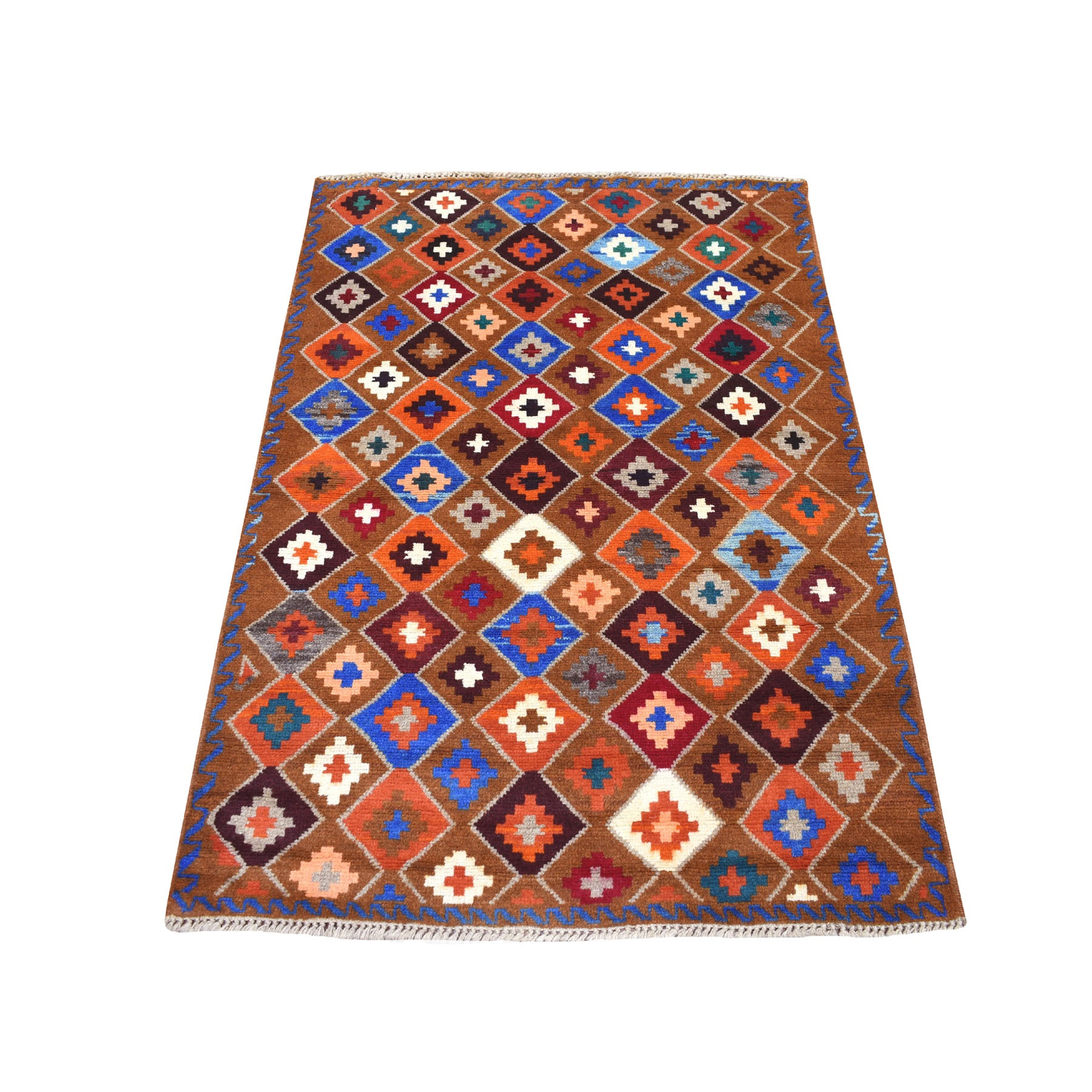 "3'5""X4'10"" Brown Geometric Design Colorful Afghan Baluch Pure Wool Hand Knotted Oriental Rug moaecc0a"