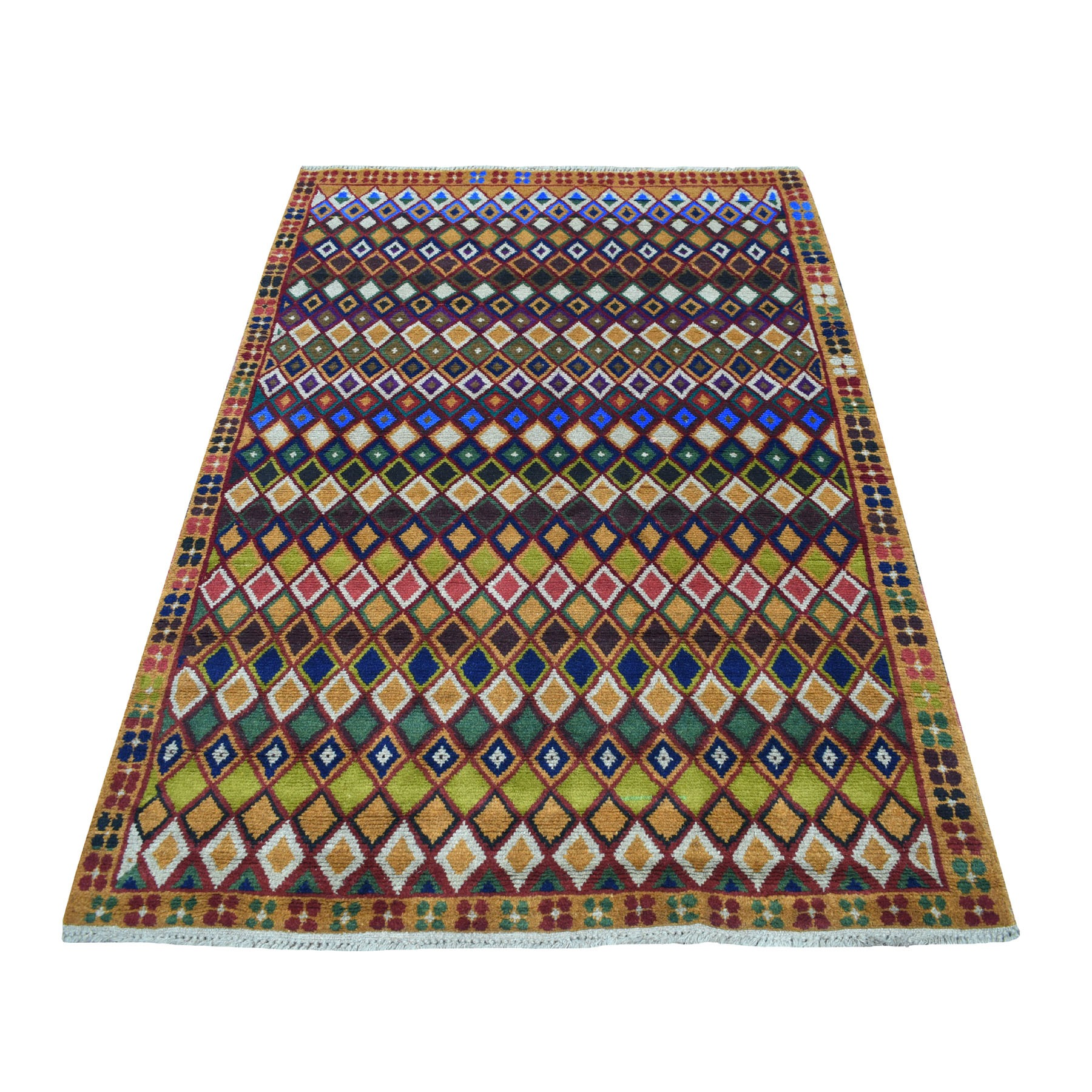 "4'3""X6'1"" Brown Tribal Design Colorful Afghan Baluch Hand Knotted Pure Wool Oriental Rug moaecc0b"