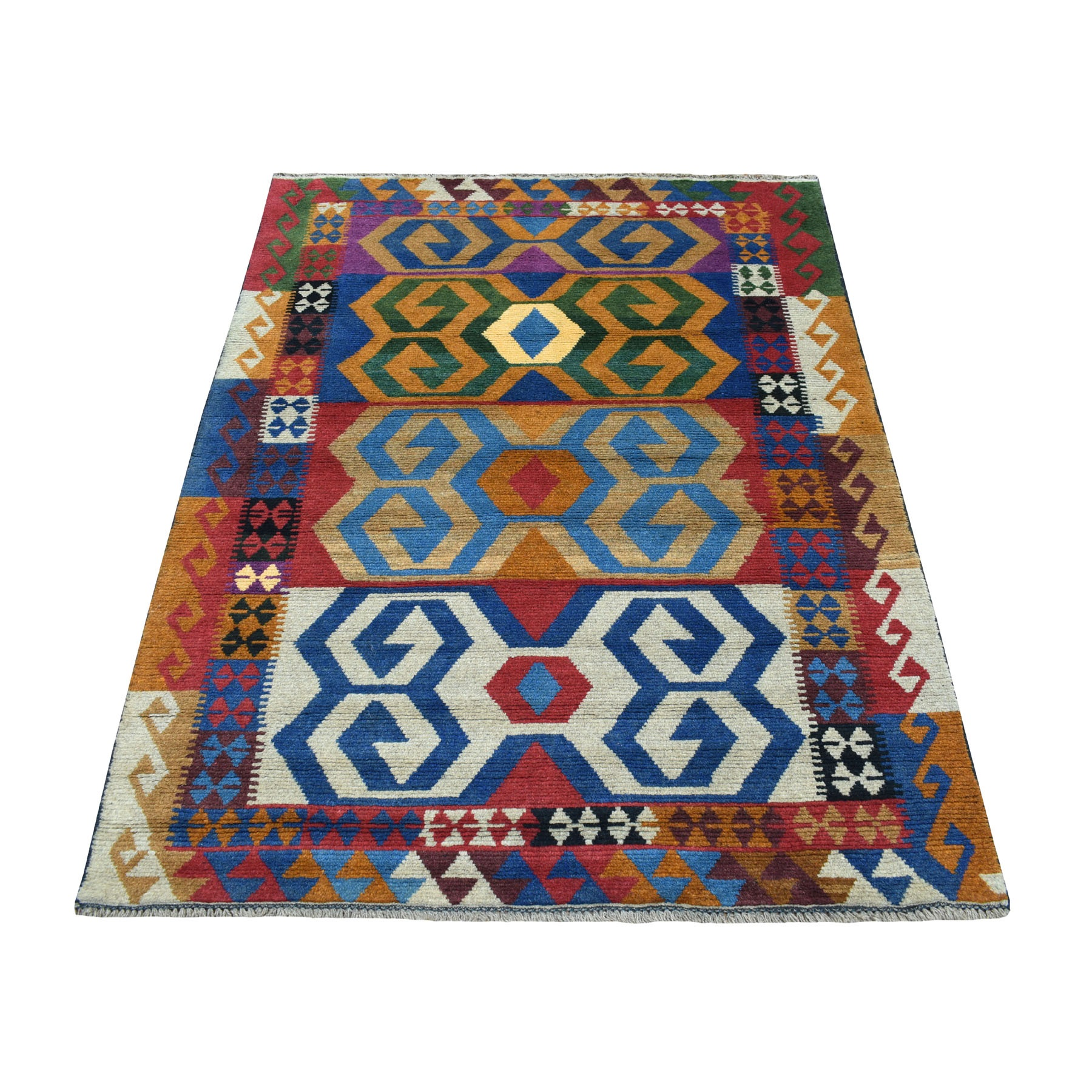 "3'10""x5'6"" Orange Colorful Afghan Baluch Geometric Design Hand Knotted Pure Wool Oriental Rug"
