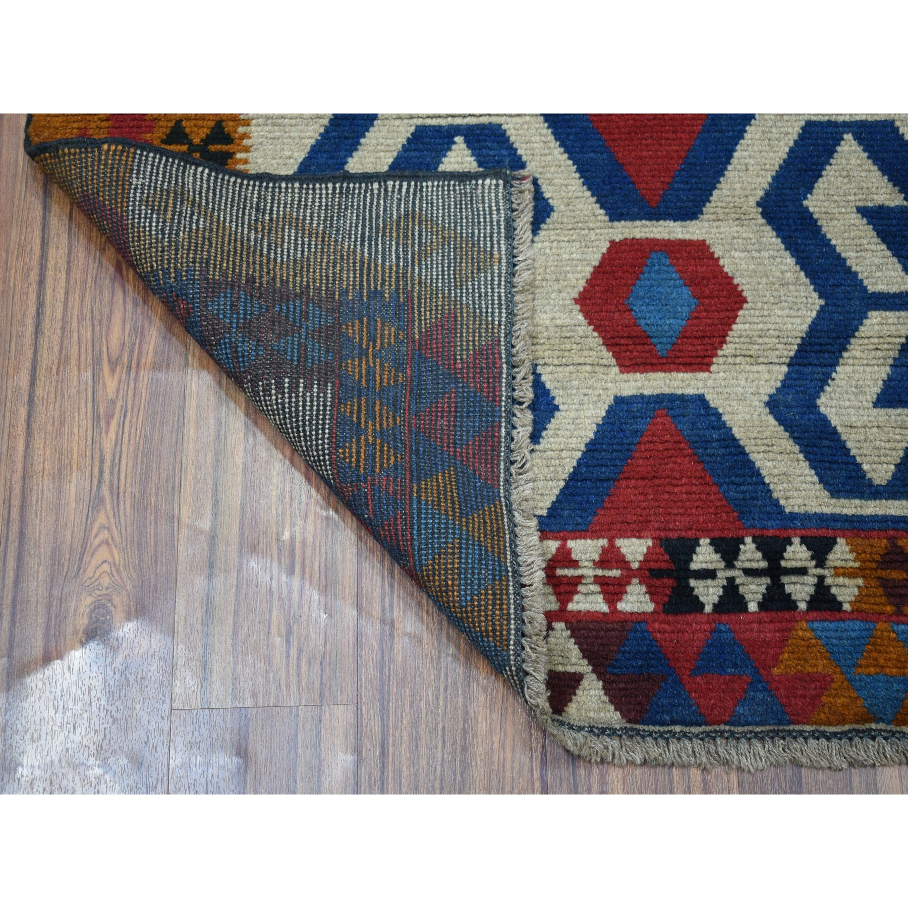 """3'10""""x5'6"""" Orange Colorful Afghan Baluch Geometric Design Hand Knotted Pure Wool Oriental Rug"""