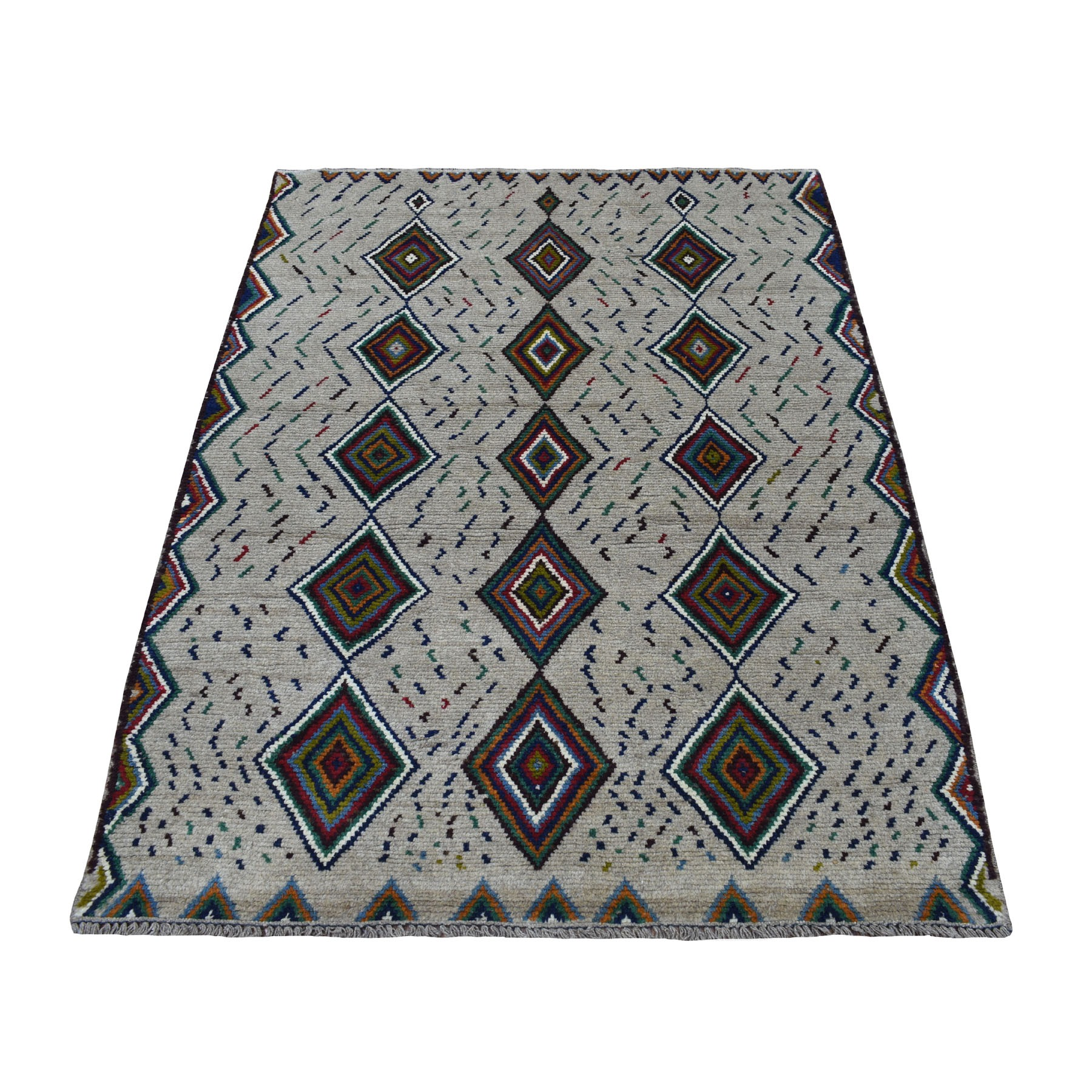 """4'X5'7"""" Gray Geometric Design Colorful Afghan Baluch Hand Knotted Pure Wool Oriental Rug moaecc0d"""