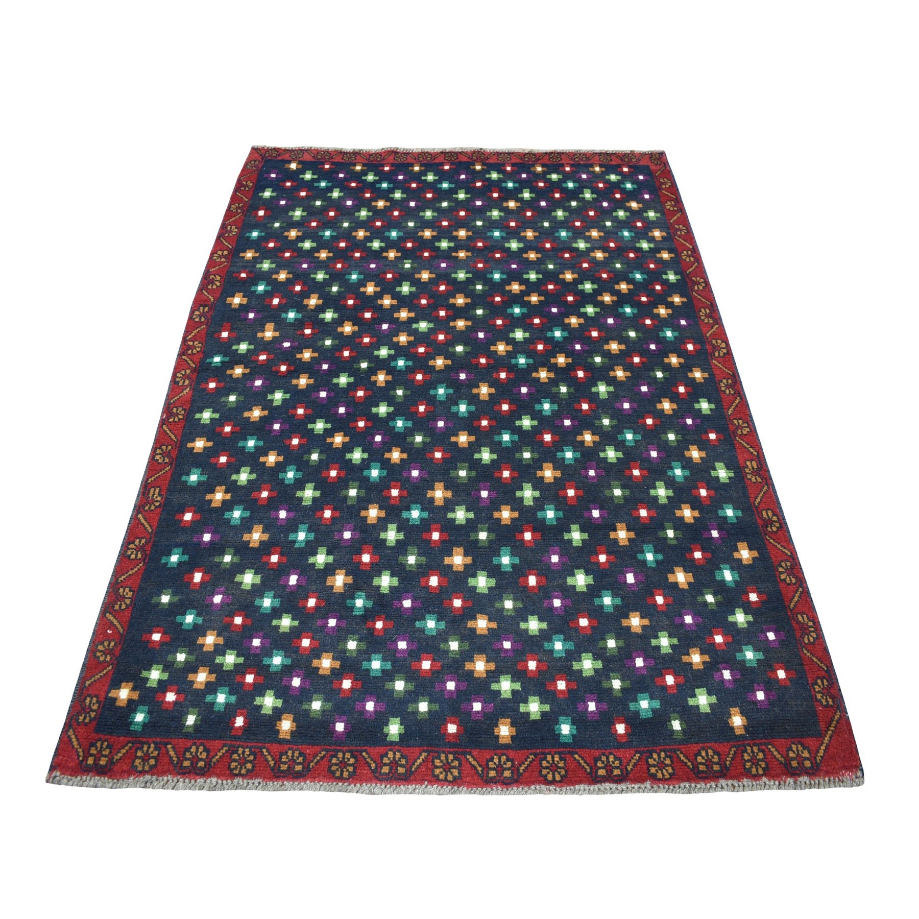 """4'3""""X6' Blue All Over Design Colorful Afghan Baluch Pure Wool Hand Knotted Oriental Rug moaecc0e"""
