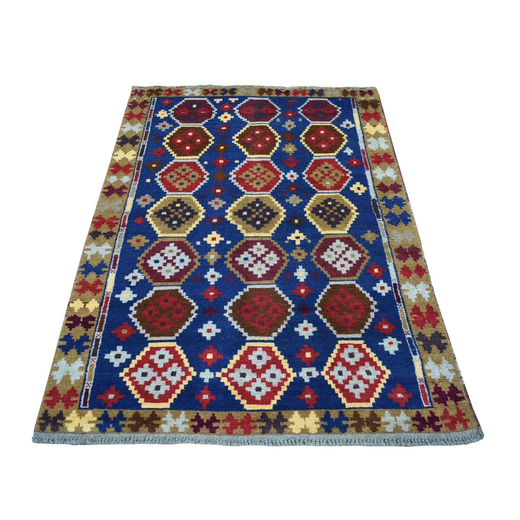 """3'8""""X5'9"""" Blue Colorful Afghan Baluch Tribal Deisgn Pure Wool Hand Knotted Oriental Rug moaecc06"""