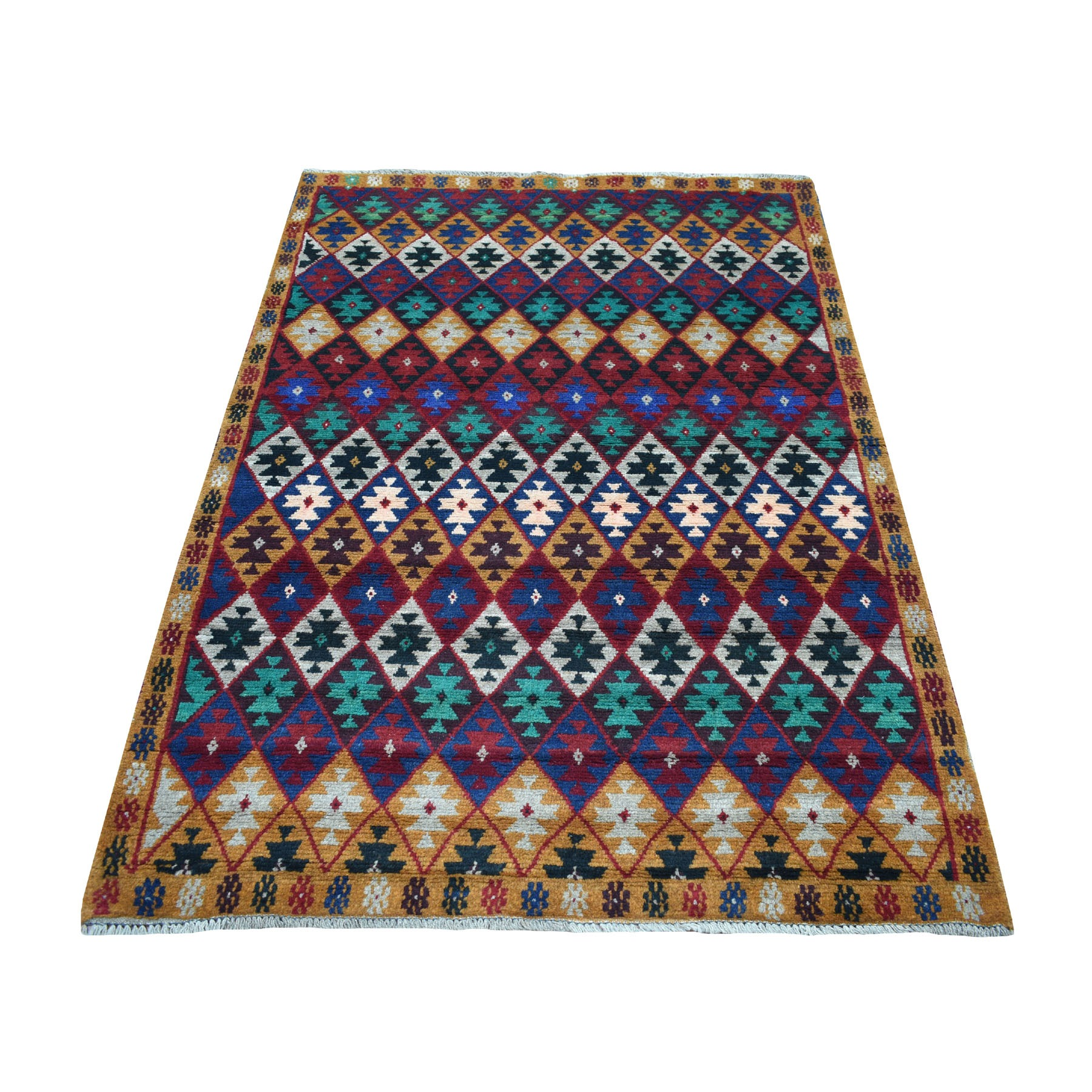 """4'1""""X5'9"""" Brown Tribal Design Colorful Afghan Baluch Hand Knotted Pure Wool Oriental Rug moaecc07"""
