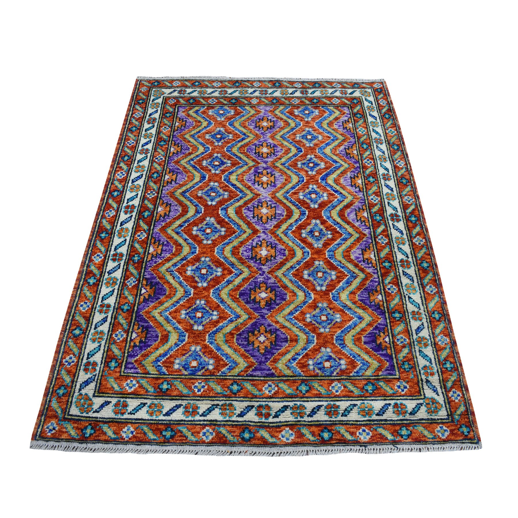 """4'2""""X5'10"""" Orange Colorful Afghan Baluch Tribal Design Pure Wool Hand Knotted Oriental Rug moaecc08"""