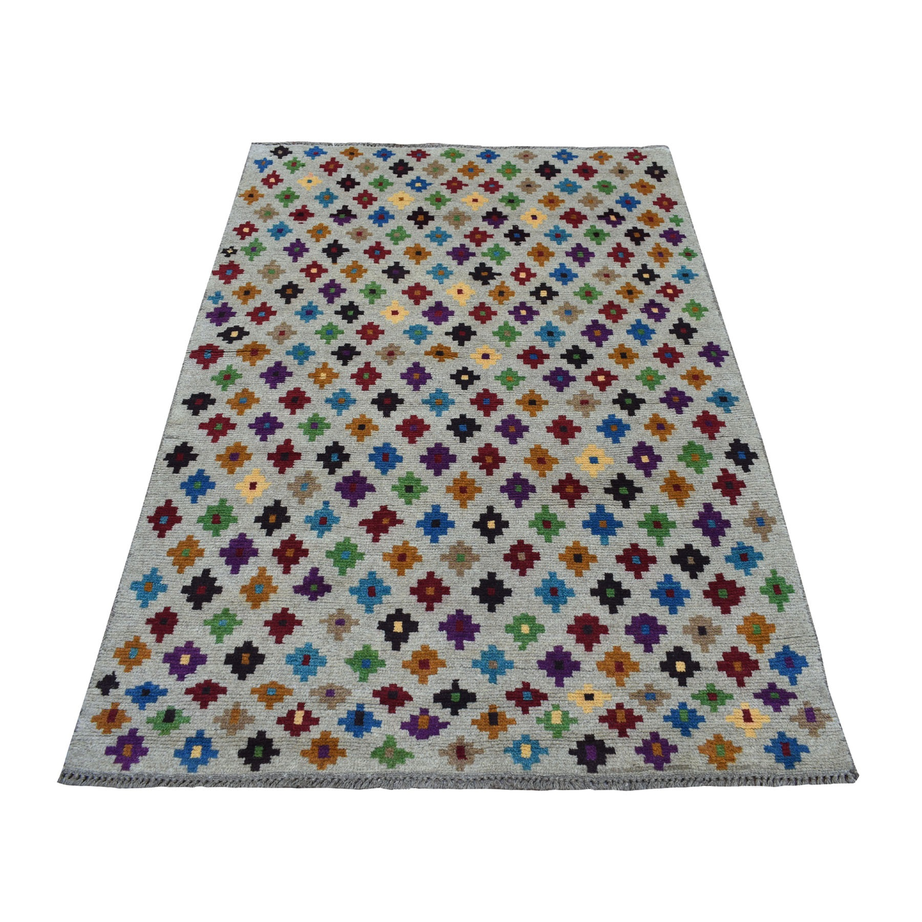 """3'10""""X5'10"""" Gray All Over Design Colorful Afghan Baluch Hand Knotted Pure Wool Oriental Rug moaeccab"""