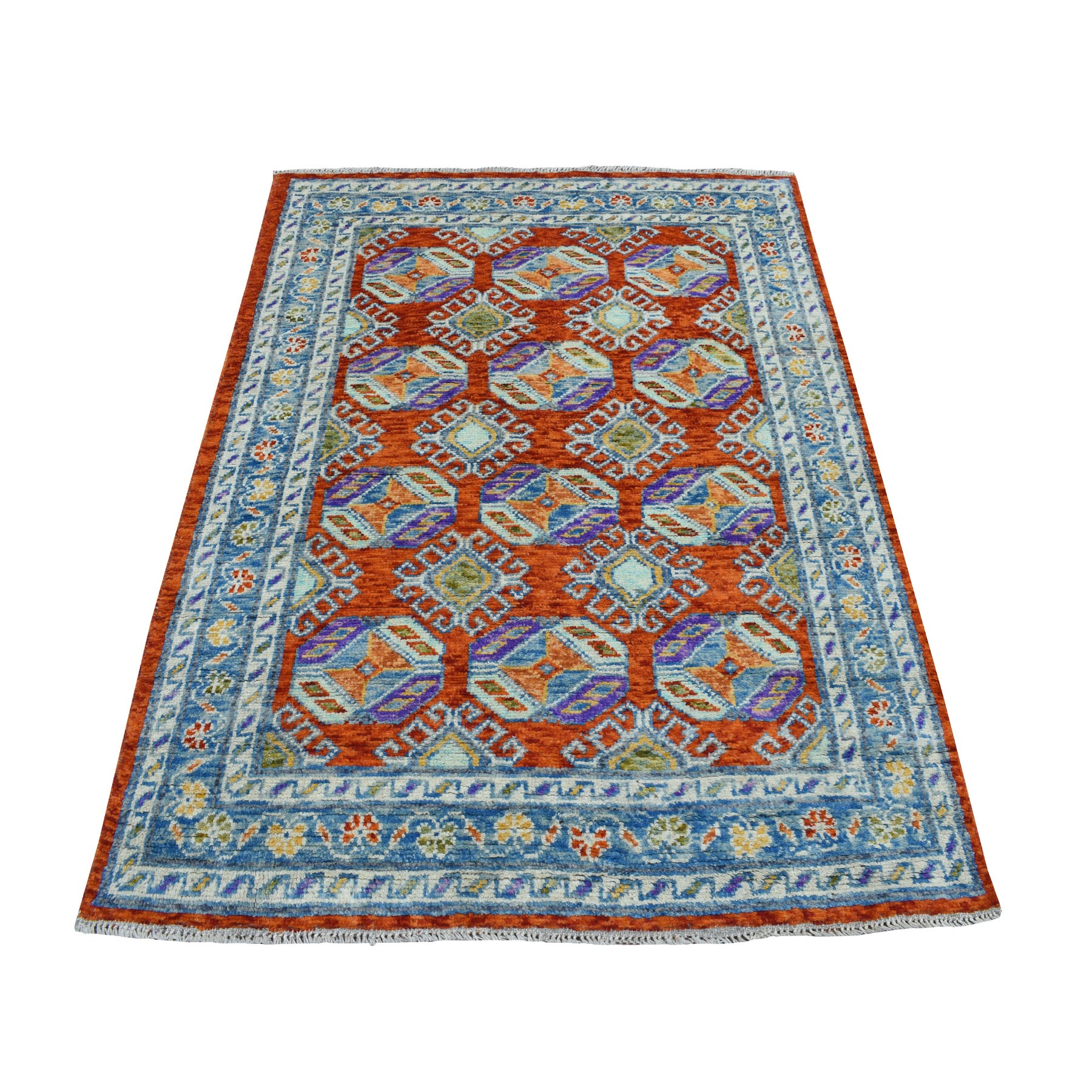 """4'1""""X5'9"""" Orange Colorful Afghan Baluch Tribal Design Hand Knotted Pure Wool Oriental Rug moaeccad"""