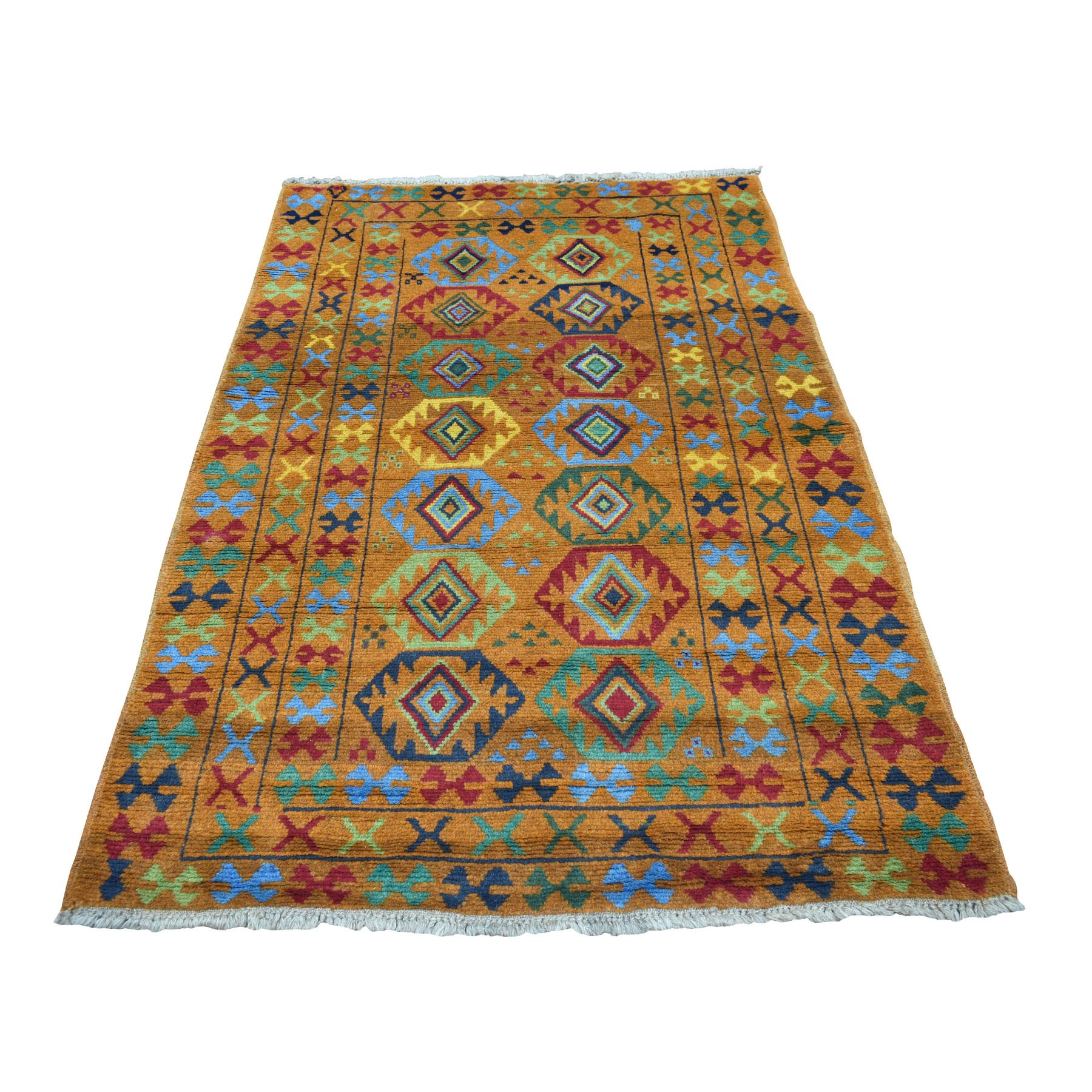 """4'3""""X6' Orange Colorful Afghan Baluch Tribal Design Hand Knotted Pure Wool Oriental Rug moaecca7"""