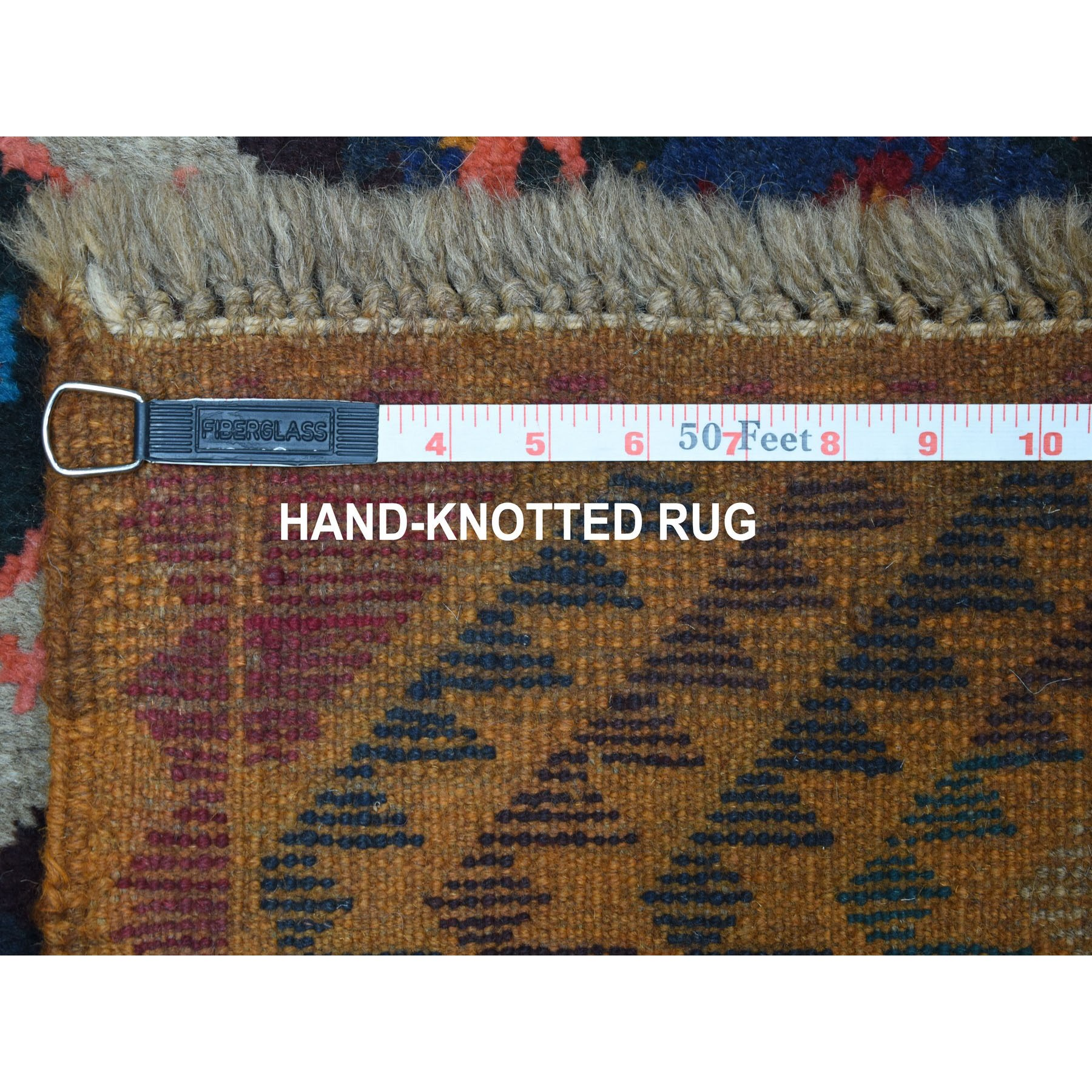 """3'9""""x6'3"""" Orange Colorful Afghan Baluch Geometric Design Hand Knotted Pure Wool Oriental Rug"""