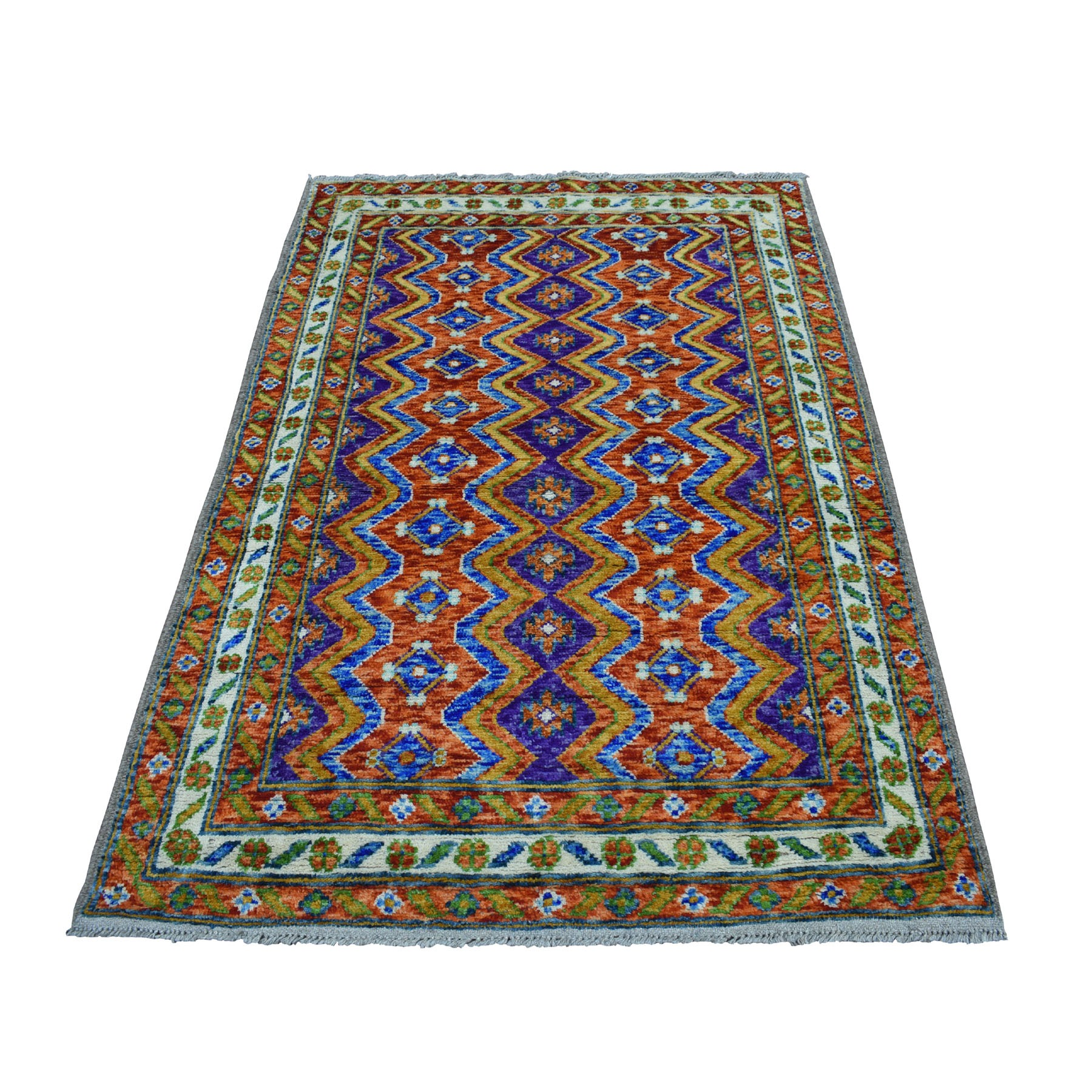 "4'X5'10"" Orange Colorful Afghan Baluch Tribal Design Hand Knotted Pure Wool Oriental Rug moaecca9"