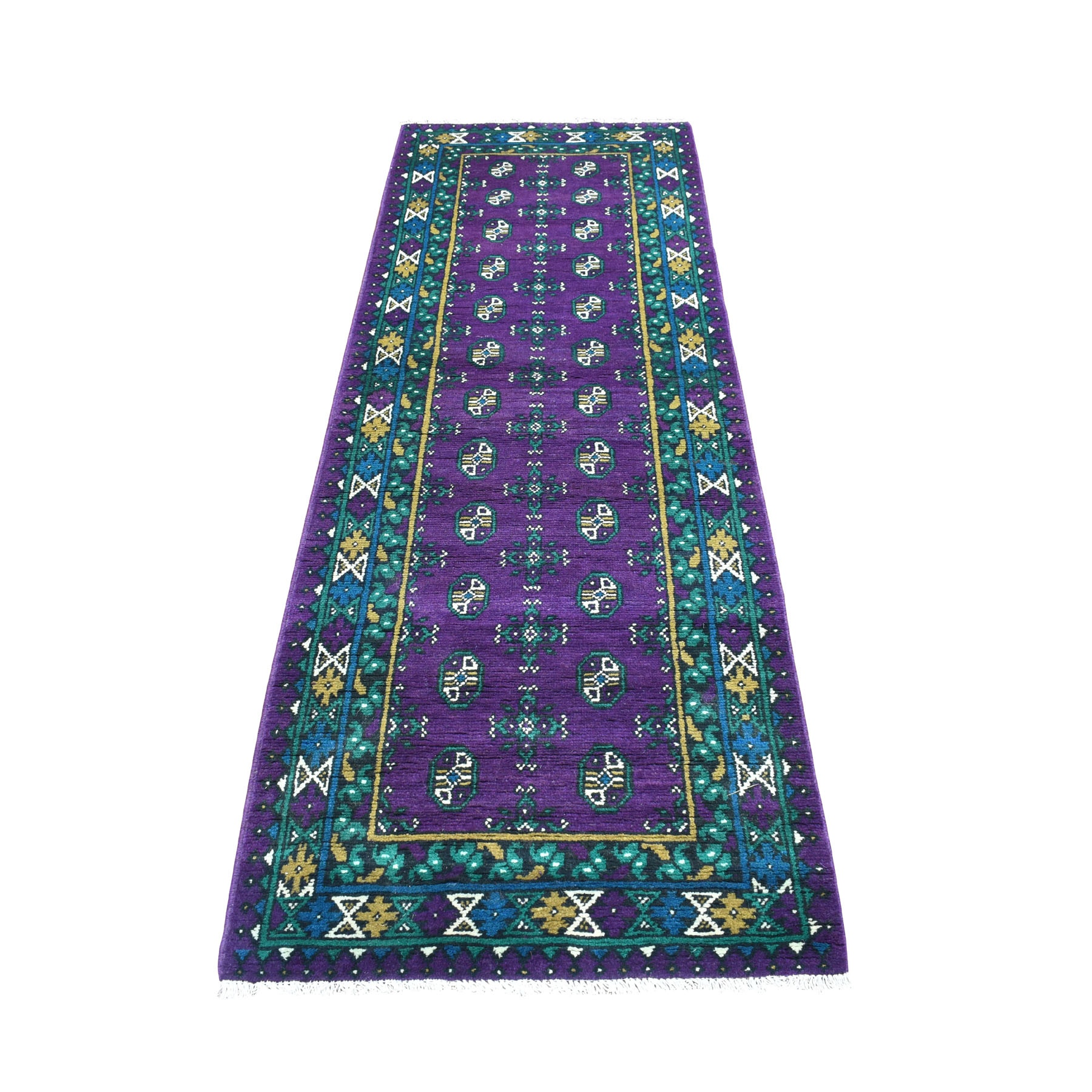 """2'8""""X8' Runner Purple Geometric Design Colorful Afghan Baluch Hand Knotted Pure Wool Oriental Rug moaeccb0"""