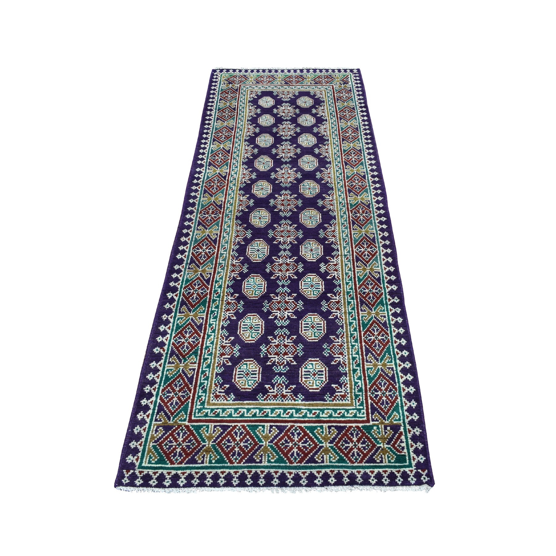 "2'9""x7'9"" Purple Geometric Design Colorful Afghan Baluch Hand Knotted Pure Wool Runner Oriental Rug"