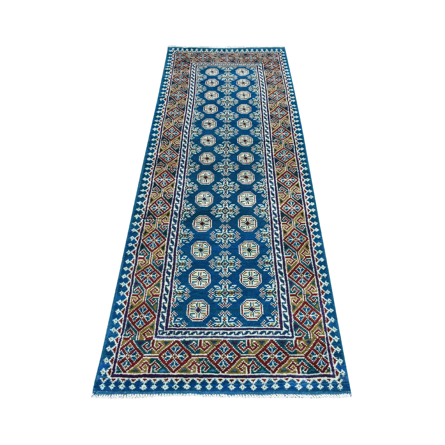 "2'8""x7'10"" Runner Blue Geometric Design Colorful Afghan Baluch Hand Knotted Pure Wool Oriental Rug"