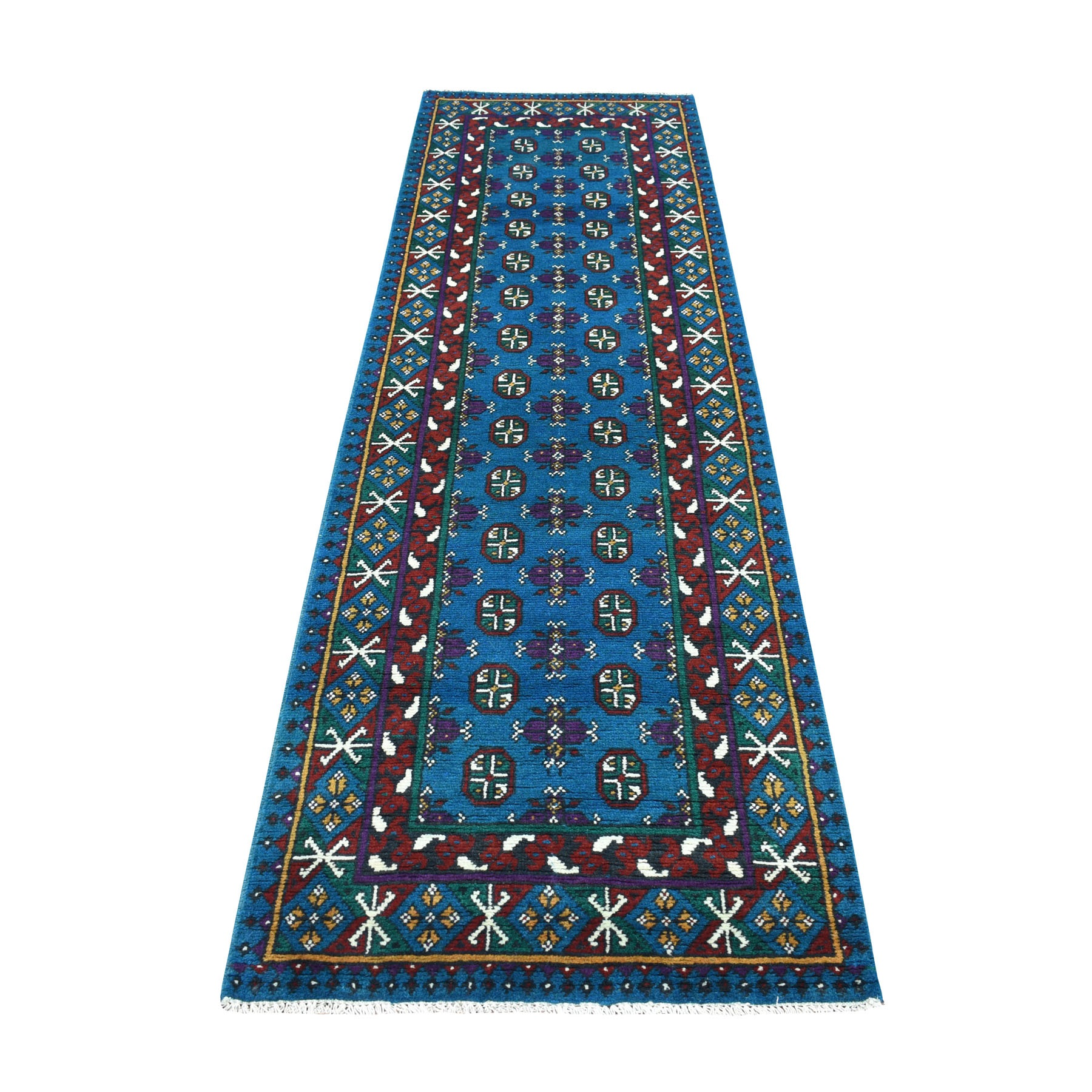 "2'9""x9'5"" Blue Tribal Design Colorful Afghan Baluch Hand Knotted Pure Wool Runner Oriental Rug"