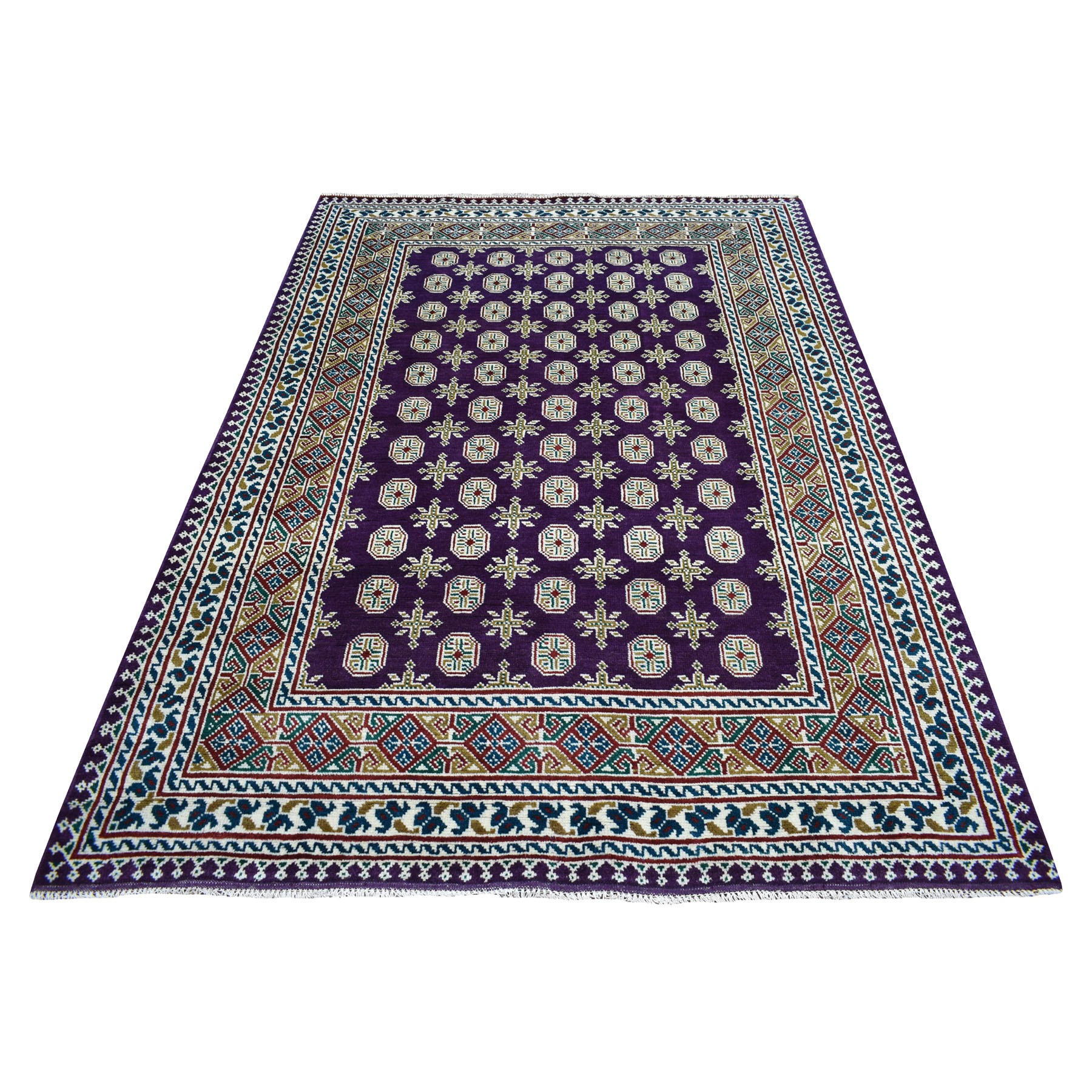 "5'7""x7'6"" Purple Colorful Afghan Baluch Hand Knotted Tribal Design Pure Wool Oriental Rug"