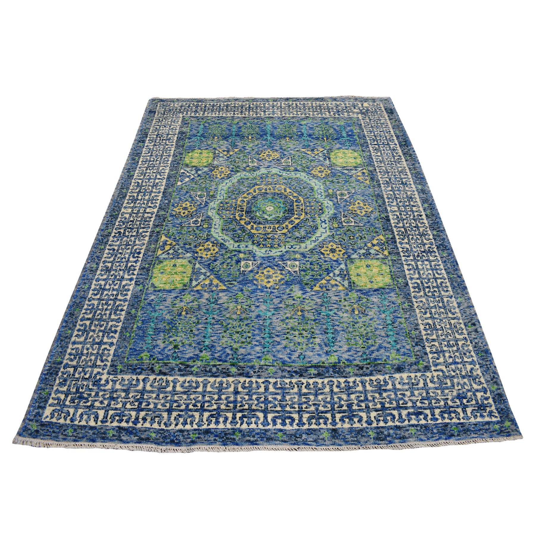 "8'x5'9"" Blue Colorful Afghan Baluch Mamluk Design Hand Knotted Pure Wool Oriental Rug"