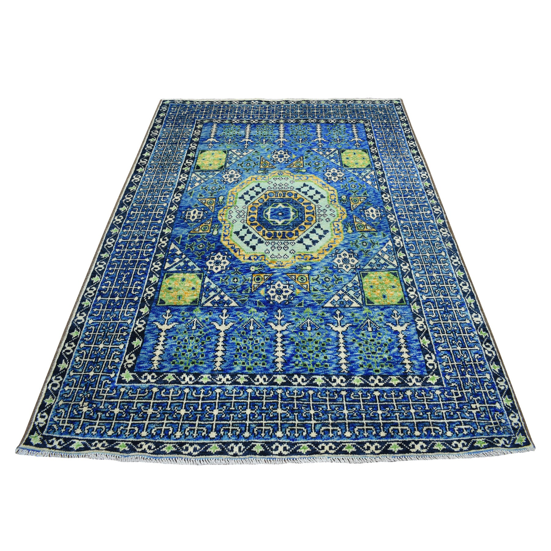 "5'5""x7'9"" Blue Mamluk Design Colorful Afghan Baluch Hand Knotted Pure Wool Oriental Rug"