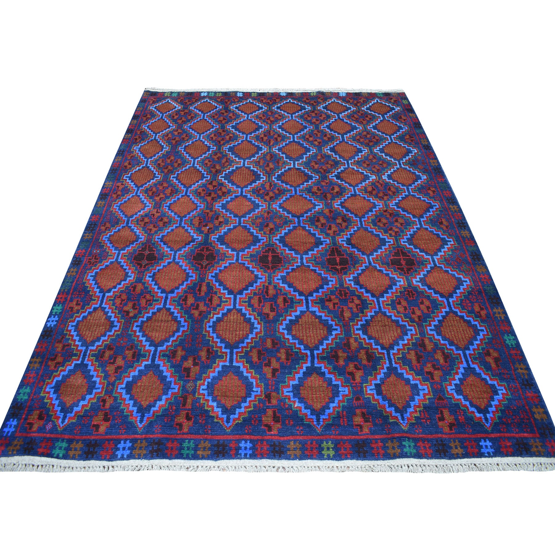 "6'1""x8' Blue Geometric Design Colorful Afghan Baluch Hand Knotted Pure Wool Oriental Rug"