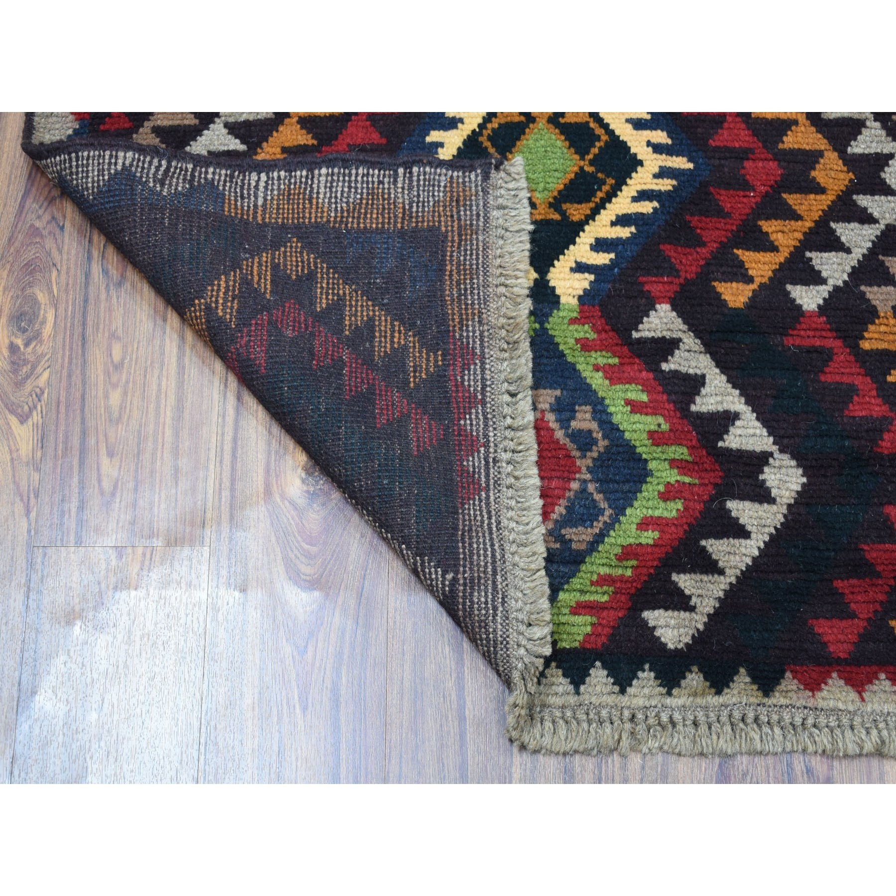 6-x8- Black Colorful Afghan Baluch Geometric Design Hand Knotted Pure Wool Runner Oriental Rug
