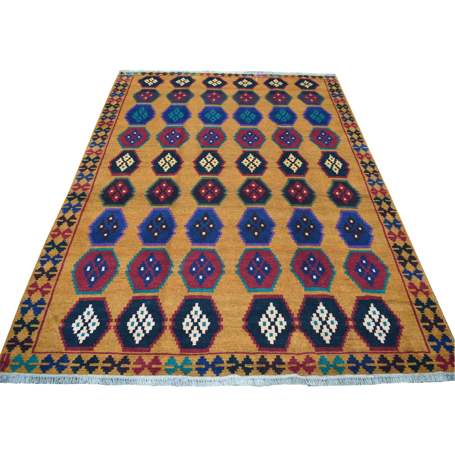 "6'x7'10"" Orange Geometric Design Colorful Afghan Baluch Hand Knotted Pure Wool Oriental Rug"