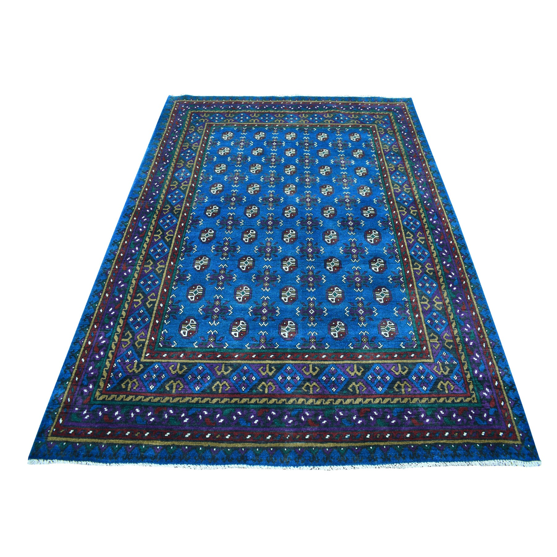 "5'9""x7'6"" Blue Colorful Afghan Baluch Hand Knotted Tribal Design Pure Wool Oriental Rug"
