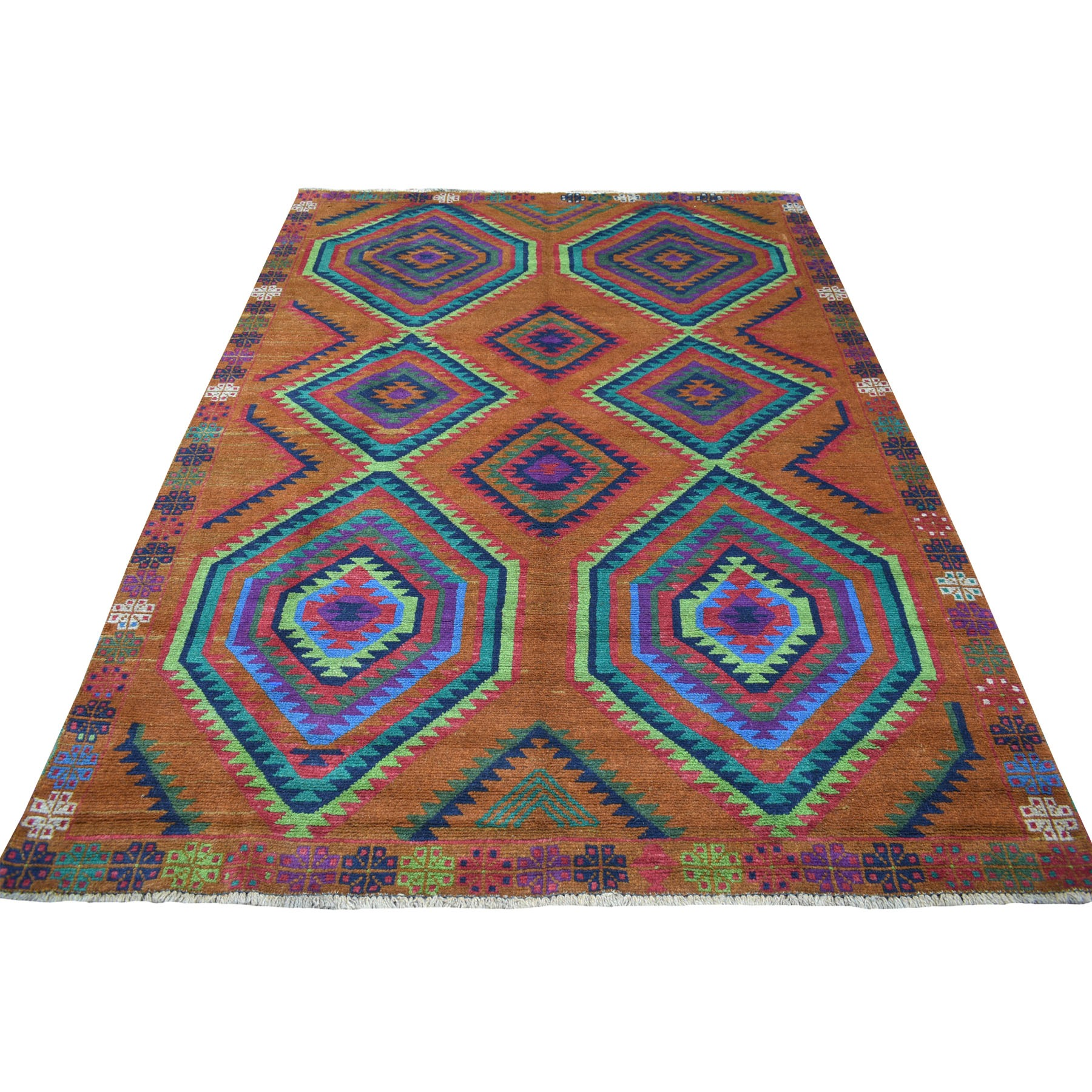 6'X8' Brown Colorful Afghan Baluch Hand Knotted Geometric Design Pure Wool Oriental Rug moaecccc