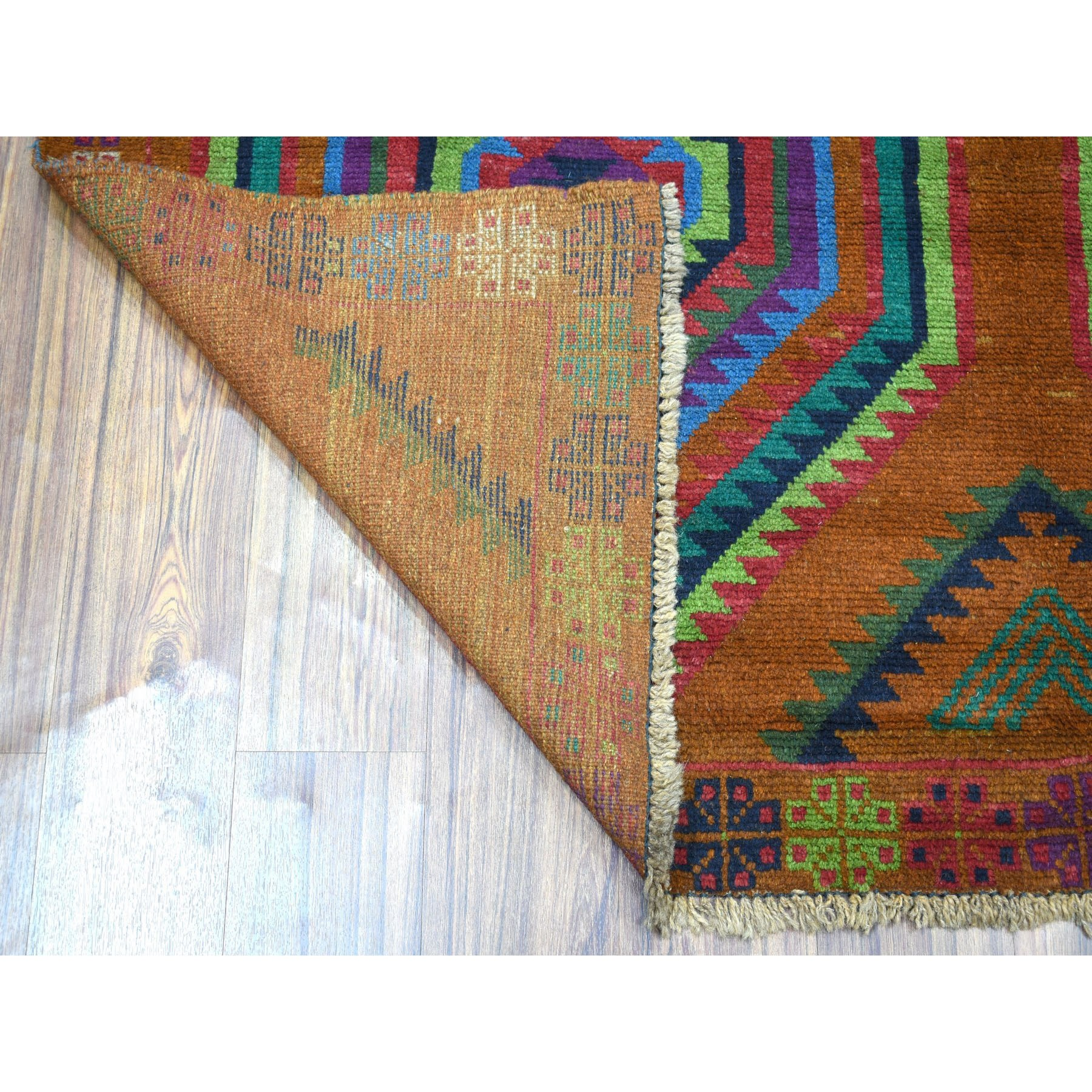 6'x8' Brown Colorful Afghan Baluch Hand Knotted Geometric Design Pure Wool Oriental Rug