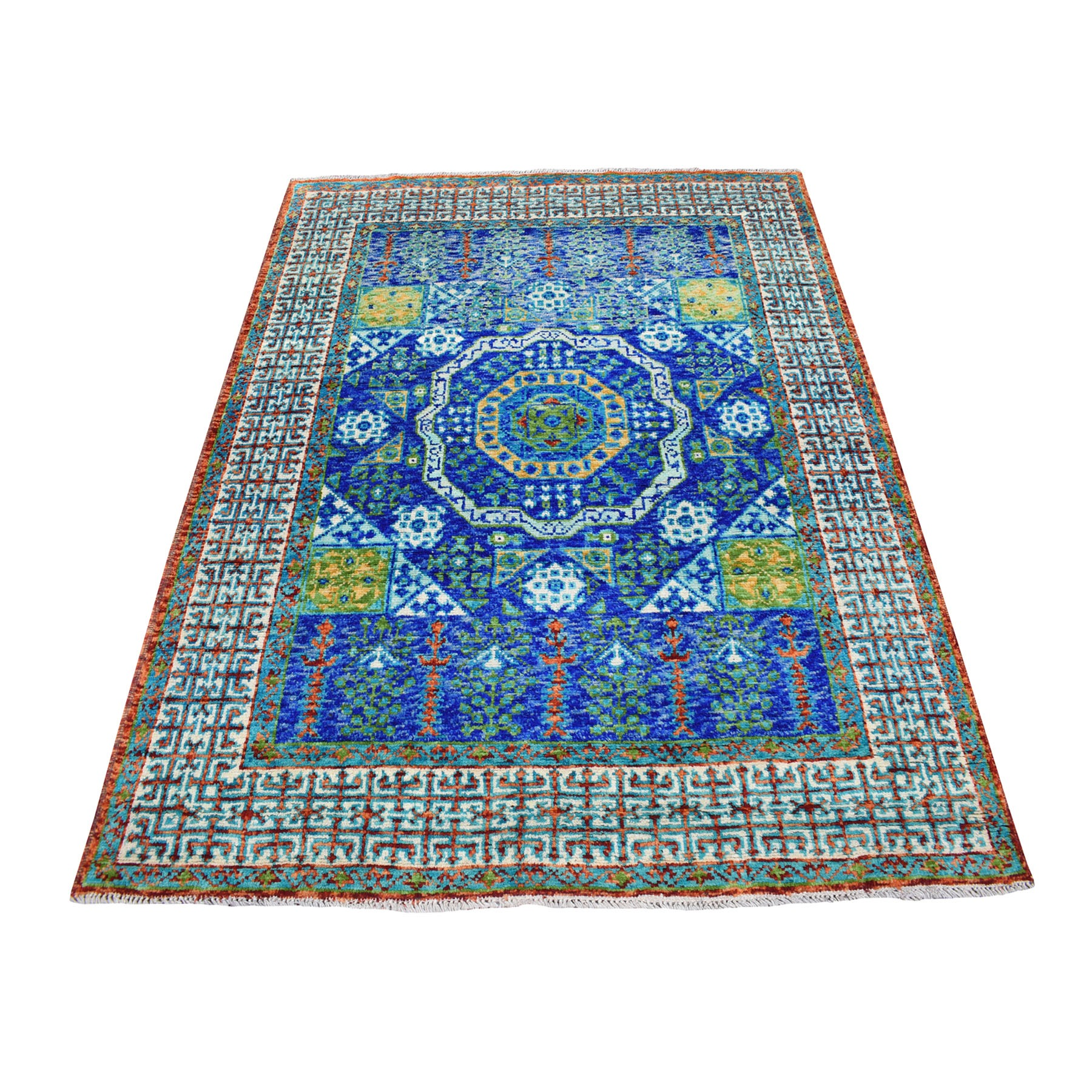 "5'1""x6'6"" Blue Mamluk Design Colorful Afghan Baluch Hand Knotted Pure Wool Oriental Rug"