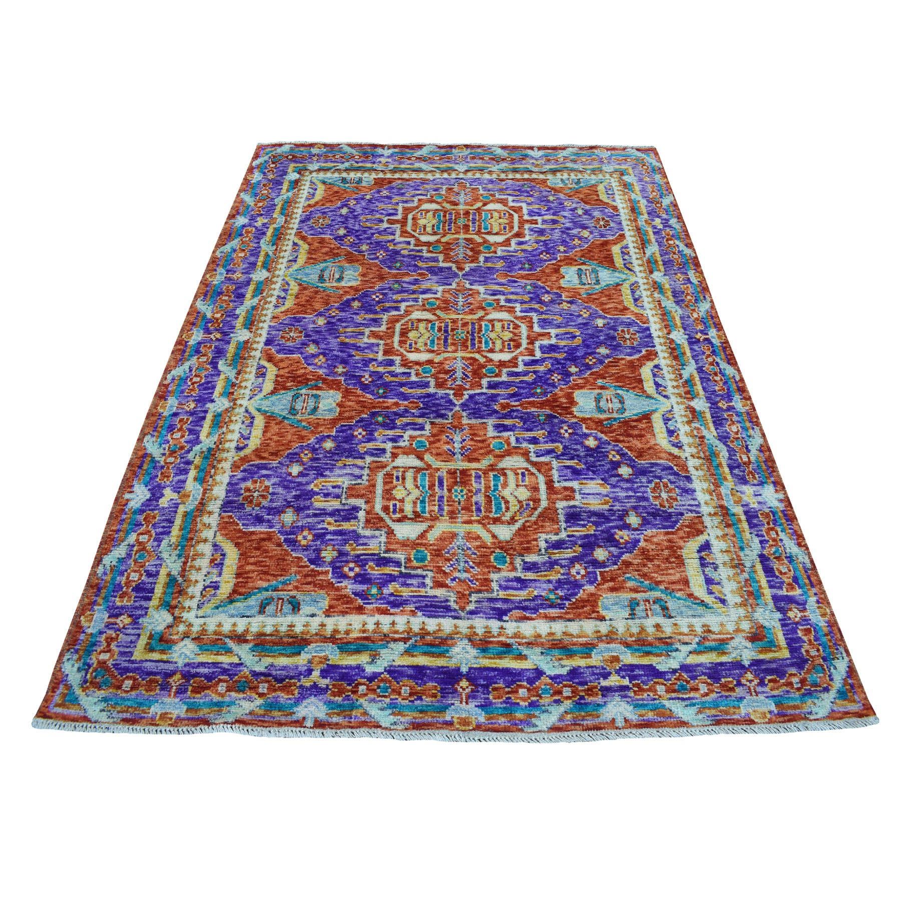 "5'3""x7'5"" Purple Colorful Afghan Baluch Hand Knotted Tribal Design Pure Wool Oriental Rug"