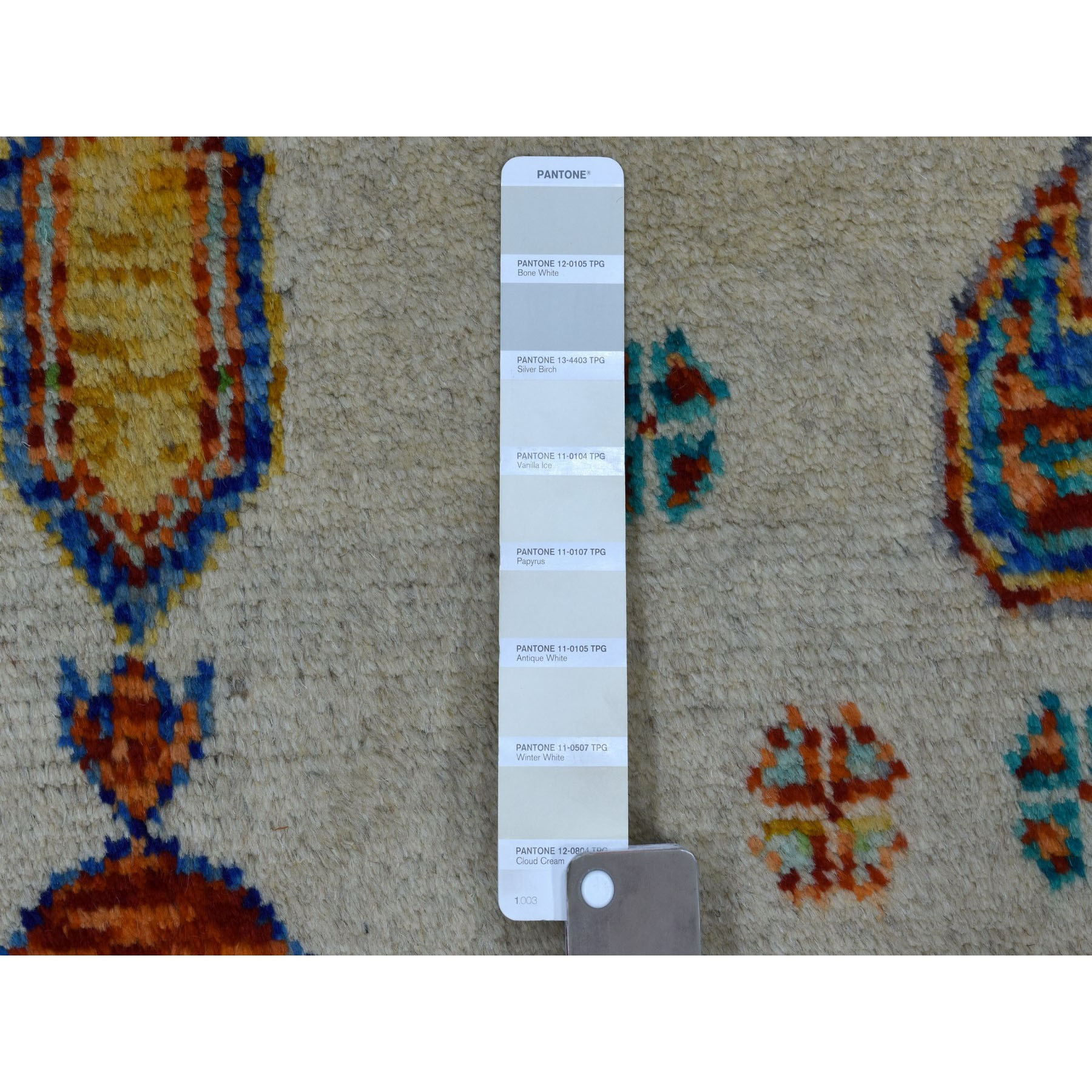 "5'x6'7"" Ivory Tribal Design Colorful Afghan Baluch Hand Knotted Pure Wool Oriental Rug"