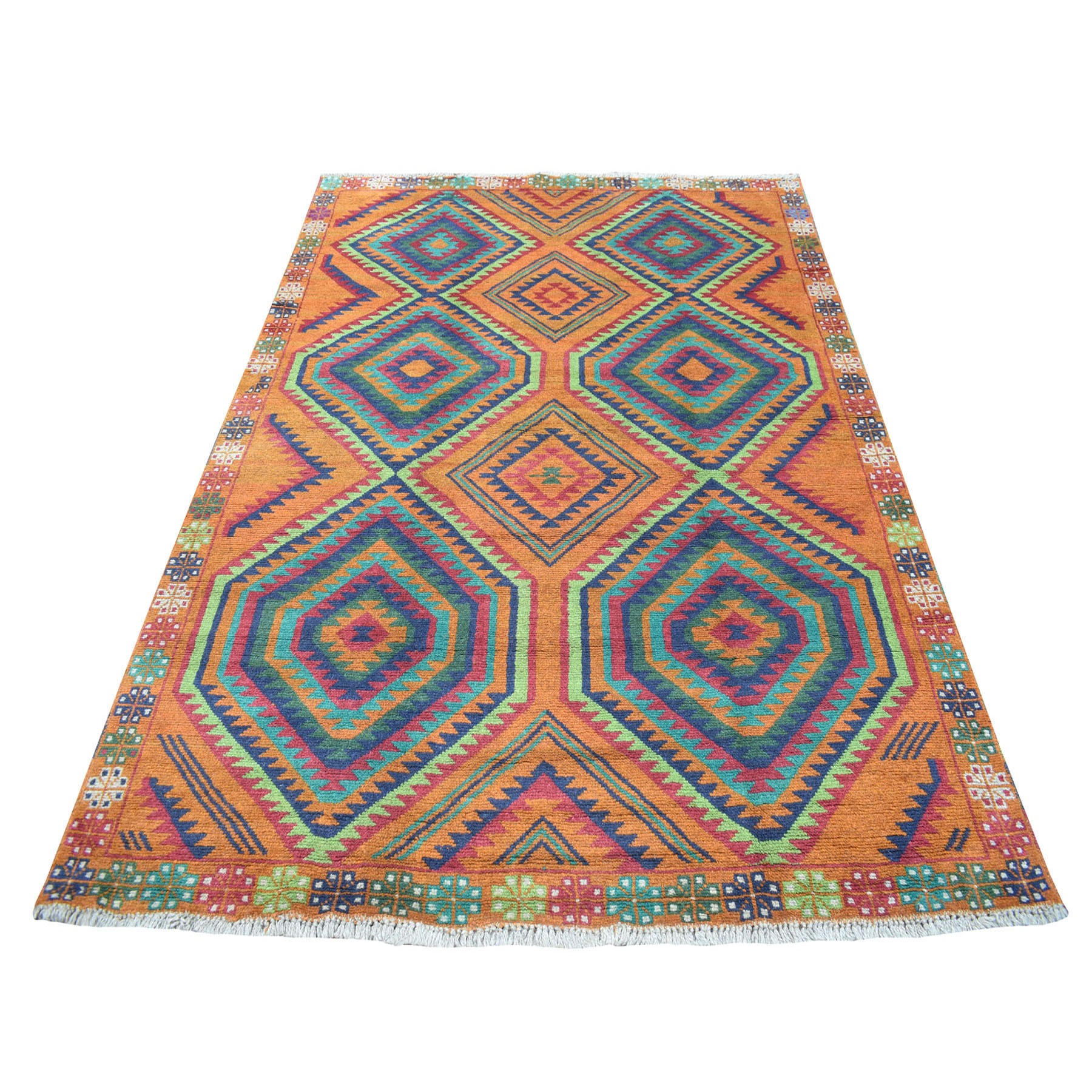 "5'8""x7'10"" Burnt Orange Colorful Afghan Baluch Hand Knotted Geometric Design Pure Wool Oriental Rug"