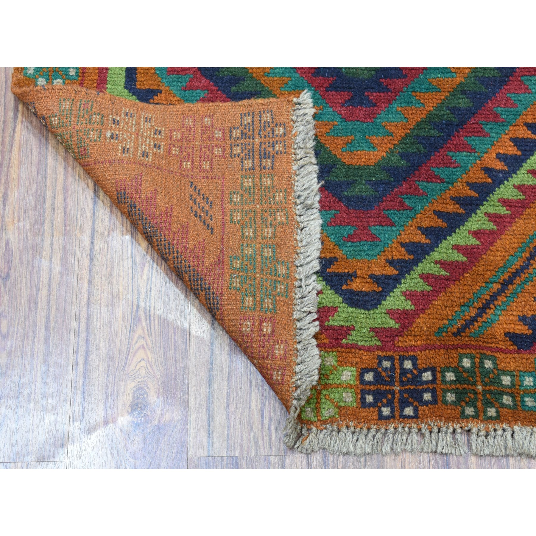 """5'8""""x7'10"""" Burnt Orange Colorful Afghan Baluch Hand Knotted Geometric Design Pure Wool Oriental Rug"""
