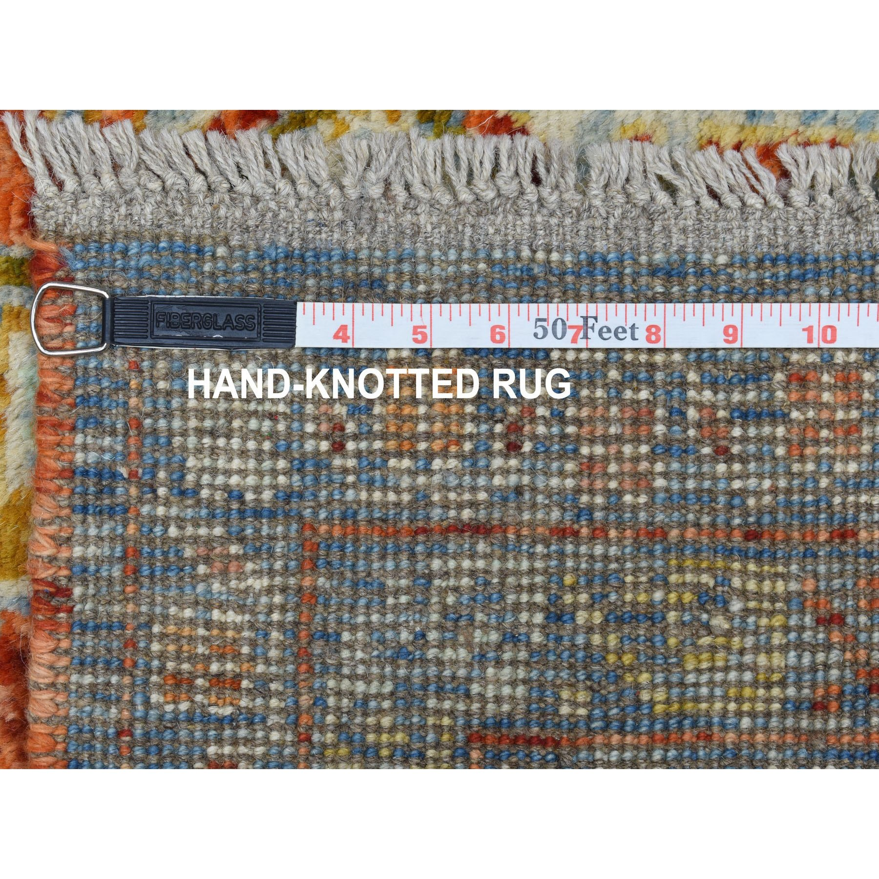 """5'8""""x7'9"""" Orange Colorful Afghan Baluch Hand Knotted Tribal Design Pure Wool Oriental Rug"""