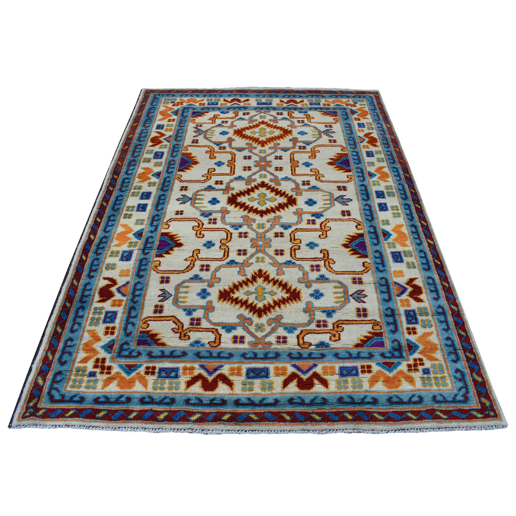 "5'8""x7'8"" Ivory Colorful Afghan Baluch Hand Knotted Tribal Design Pure Wool Oriental Rug"