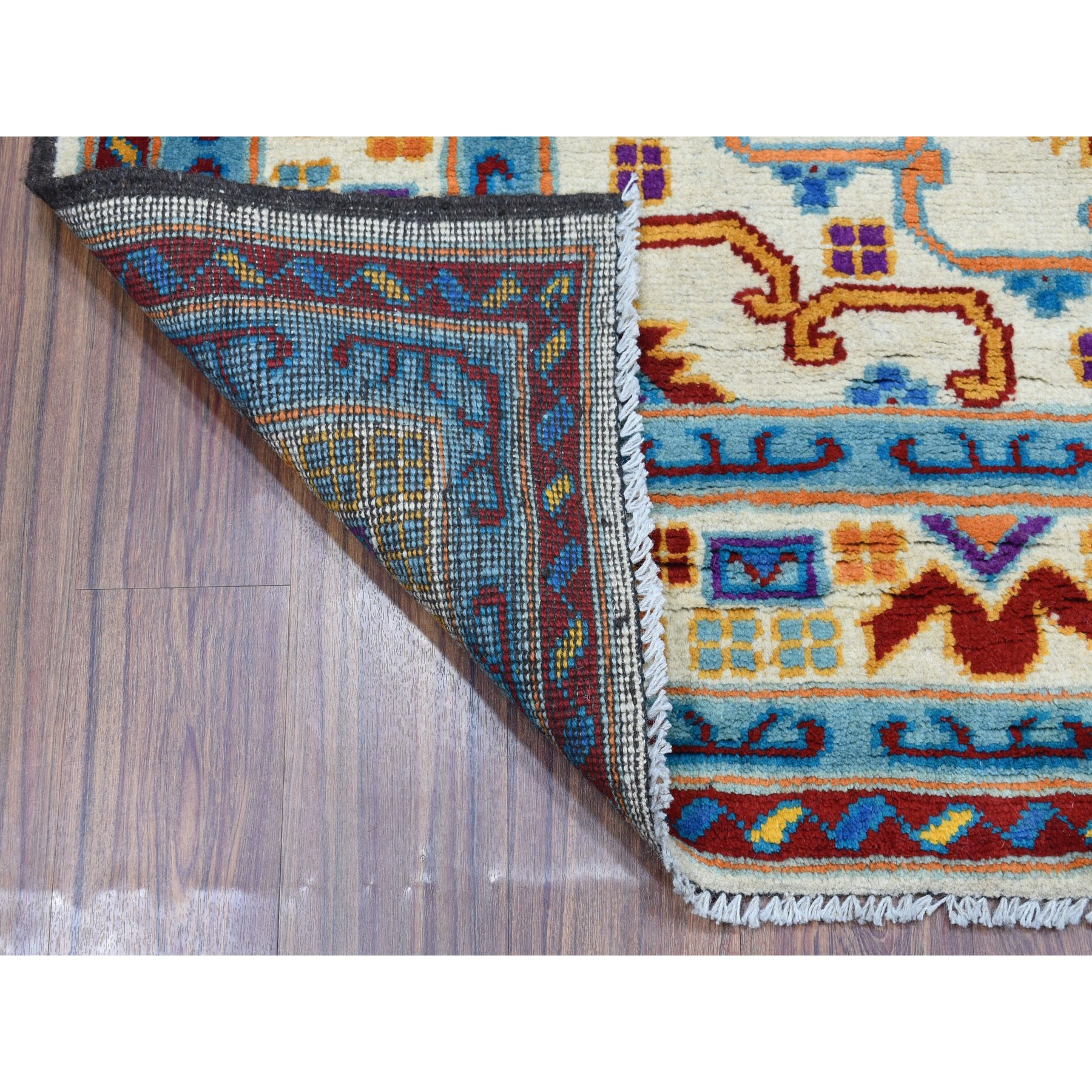 """5'8""""x7'8"""" Ivory Colorful Afghan Baluch Hand Knotted Tribal Design Pure Wool Oriental Rug"""