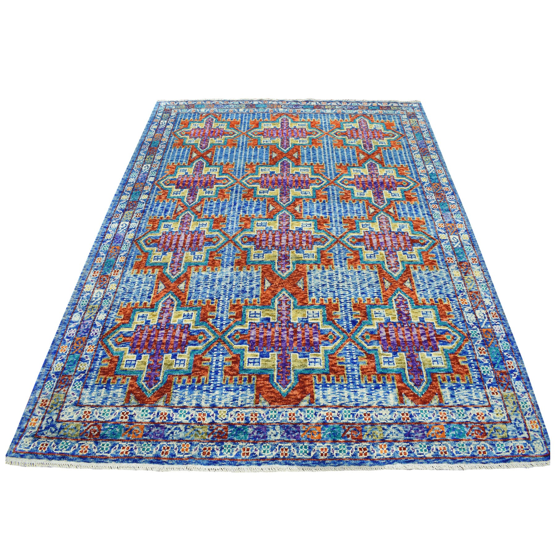 "6'1""x8'1"" Blue Tribal Design Colorful Afghan Baluch Hand Knotted Pure Wool Oriental Rug"