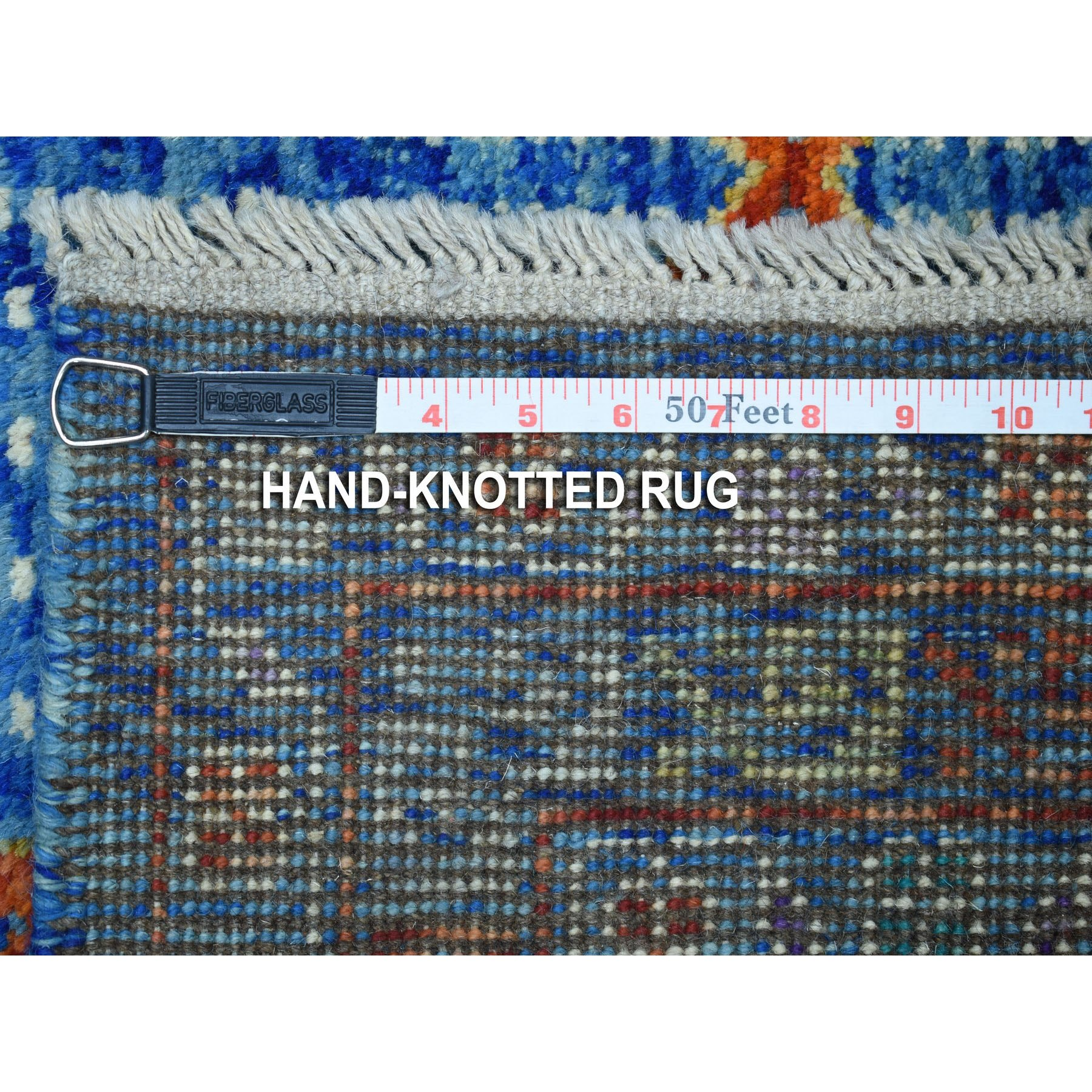 """6'1""""x8'1"""" Blue Tribal Design Colorful Afghan Baluch Hand Knotted Pure Wool Oriental Rug"""