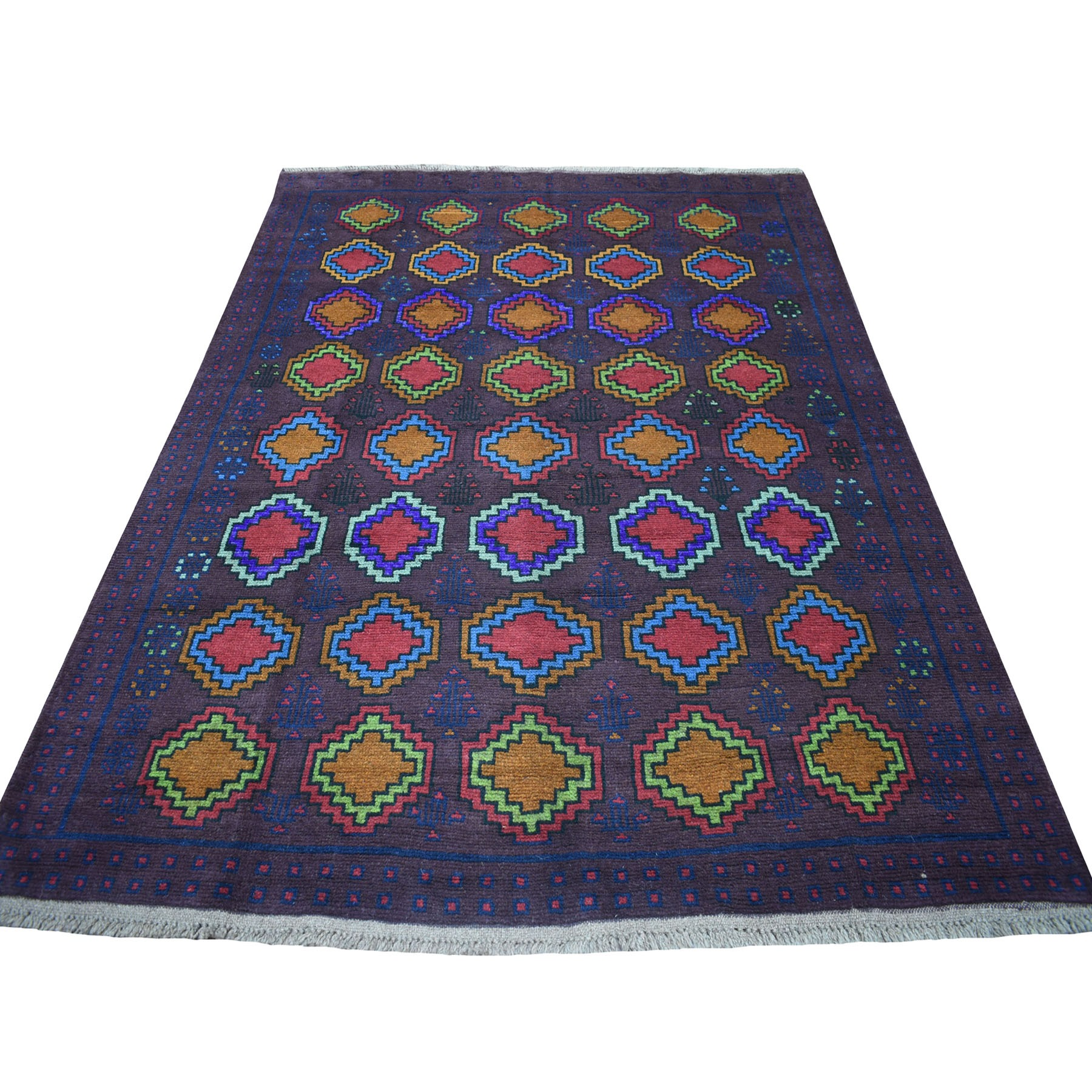 "5'10""x7'8"" Purple Geometric Design Colorful Afghan Baluch Hand Knotted Pure Wool Oriental Rug"
