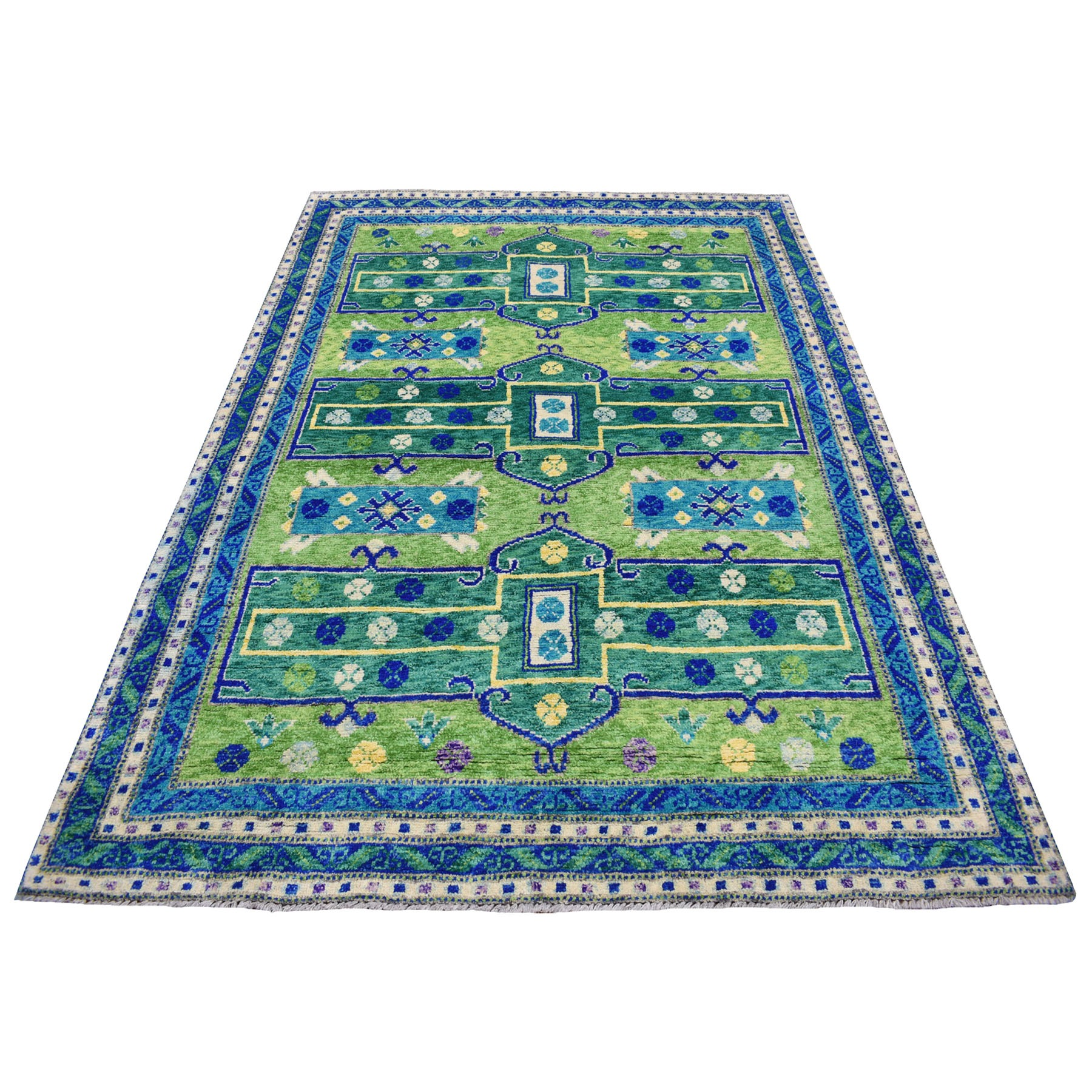 "5'7""x7'8"" Green Colorful Afghan Baluch Hand Knotted Tribal Design Pure Wool Oriental Rug"